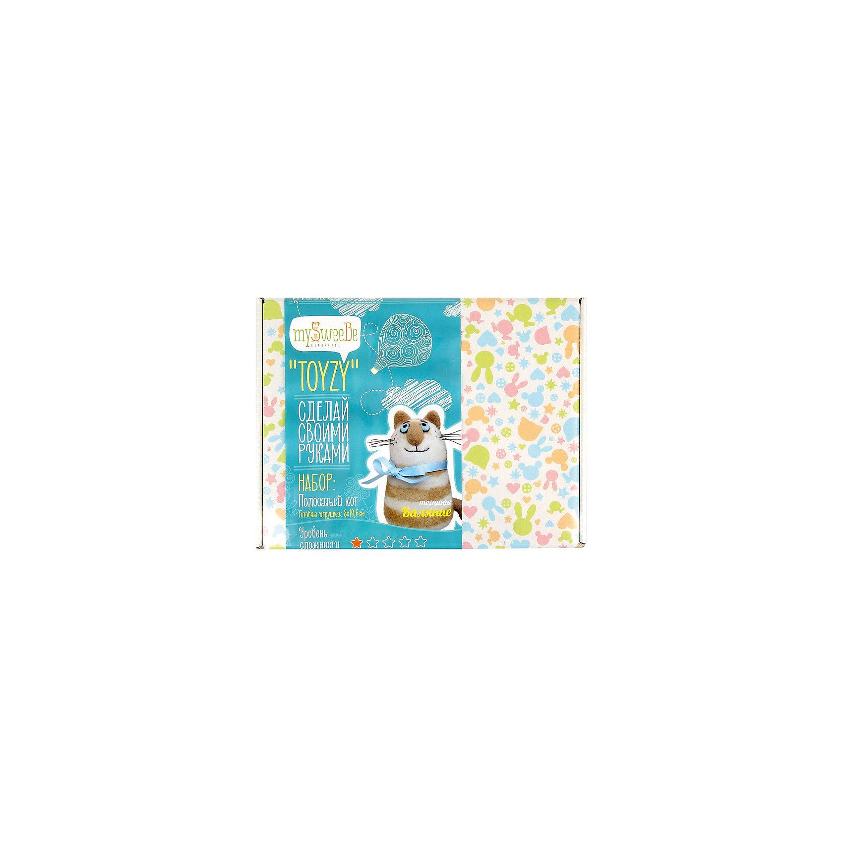 Набор для валяния Полосатый котШитьё<br>Этот замечательный набор позволит создать милую мягкую игрушку в оригинальной технике валяния. Получившийся очаровательный полосатый кот станет любимой игрушкой ребенка или же прекрасным памятным подарком, сделанным своими руками. В наборе есть все необходимое, осталось добавить немного терпения и фантазии - и уникальная игрушка готова! Все инструменты и материалы, входящие в набор, являются натуральными и высококачественными, а значит, безопасными для детей. Валяние - прекрасный вид детского досуга, который успокоит нервную систему, поможет развить внимание, усидчивость и мелкую моторику. <br><br>Дополнительная информация:<br><br>- Материал: шерсть, пластик.<br>- Размер: 25х19х6 см.<br>- Размер игрушки: 10,6х8 см. <br>- Комплектация: шерсть, инструкция, иглы, полимерная глина, губка, проволока<br><br>Набор для валяния Полосатый кот можно купить в нашем магазине.<br><br>Ширина мм: 180<br>Глубина мм: 240<br>Высота мм: 50<br>Вес г: 190<br>Возраст от месяцев: 84<br>Возраст до месяцев: 192<br>Пол: Унисекс<br>Возраст: Детский<br>SKU: 4603780