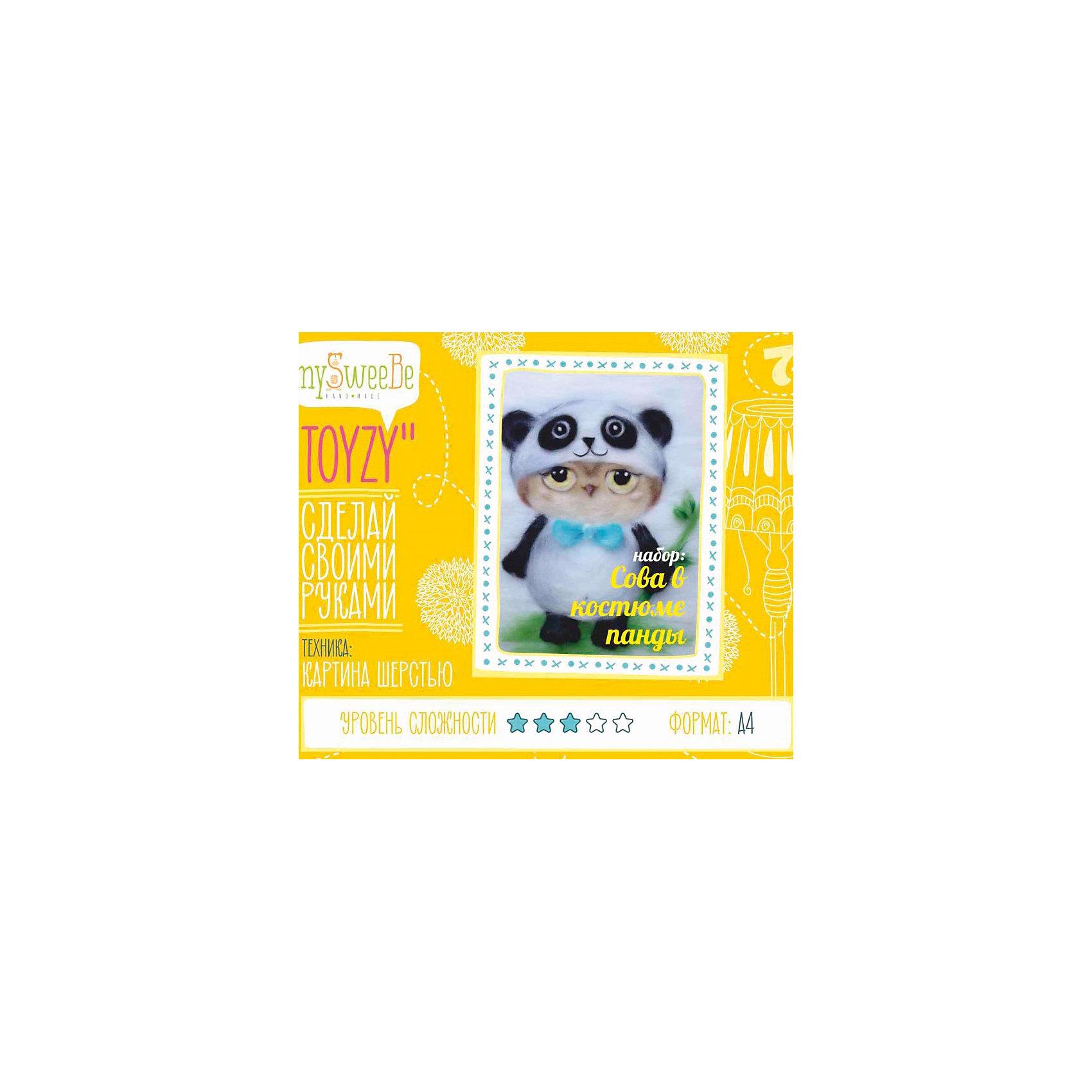 TOYZY Набор для картин шерстью Сова в костюме панды toyzykit картина шерстью сова в костюме панды