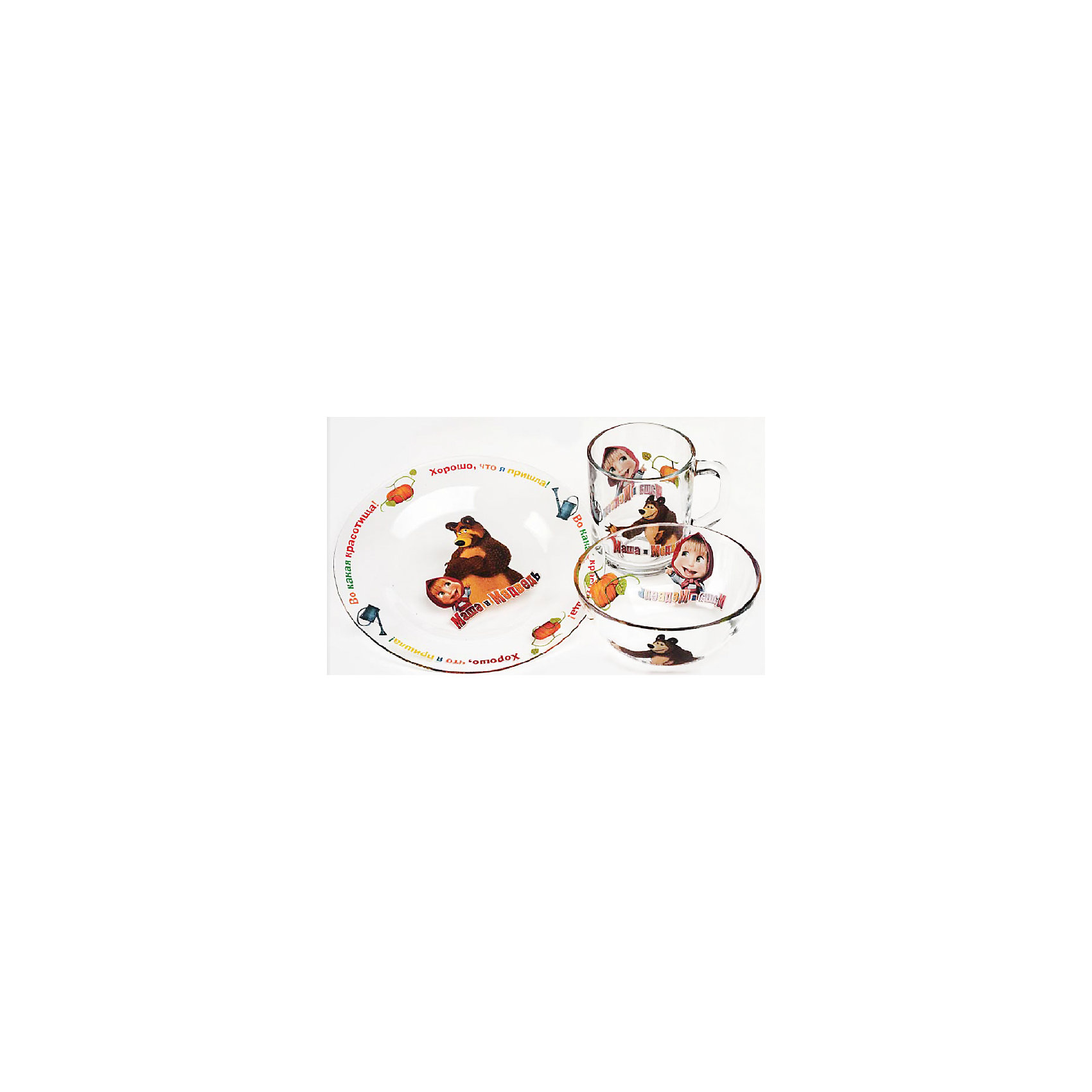 Набор посуды Огород (3 предмета, стекло), Маша и МедведьНабор посуды Огород (3 предмета, стекло), Маша и Медведь – посуда с героями мультсериала «Маша и Медведь» порадует ребенка.<br>Набор красочной детской посуды Маша и Медведь Огород выполненный из качественного стекла, идеально подойдет для повседневного использования. В комплект входят: кружка с удобной ручкой, салатник-супница, тарелка. Все предметы украшены яркими изображениями проказницы Маши и добродушного Медведя. С такой посудой привычная еда станет более вкусной и приятной, а кормление малыша превратится в веселую и интересную игру.<br><br>Дополнительная информация:<br><br>- В наборе: кружка, салатник-супница, тарелка<br>- Материал: стекло<br>- Диаметр тарелки: 19,5 см.<br>- Диаметр салатника-супницы: 12,5 см.<br>- Высота салатника-супницы: 5 см.<br>- Объем кружки: 250 мл.<br>- Диаметр кружки: 7 см.<br>- Высота кружки: 9 см.<br>- Упаковка: удобная, красочная картонная коробка<br>- Размер упаковки: 20,5 x 11 x 20,5 см.<br>- Вес: 860 гр.<br>- Пригодна для мытья в посудомоечной машине<br><br>Набор посуды Огород (3 предмета, стекло), Маша и Медведь можно купить в нашем интернет-магазине.<br><br>Ширина мм: 205<br>Глубина мм: 110<br>Высота мм: 205<br>Вес г: 860<br>Возраст от месяцев: 36<br>Возраст до месяцев: 144<br>Пол: Унисекс<br>Возраст: Детский<br>SKU: 4603867