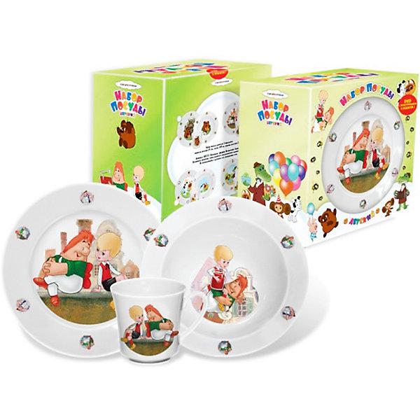 Набор посуды Малыш и Карлсон (фарфор)Советские мультфильмы<br>Набор посуды Малыш и Карлсон (фарфор) – эта яркая красочная посуда поднимет настроение вашему ребенку.<br>Набор фарфоровой посуды Малыш и Карлсон - состоит из трех предметов: суповой тарелки, тарелки для вторых блюд и кружки. Настоящий российский фарфор, выпущенный Дулевским фарфоровым заводом. Посуда допускает использование её в микроволновой печи и мытьё в посудомоечной машине. Малыш и озорник Карлсон, который может за раз съесть трехлитровую банку варенья и пакет печенья помогут вашему ребенку осилить тарелку обычного супа.<br><br>Дополнительная информация:<br><br>- В наборе: кружка, суповая тарелка, тарелка для вторых блюд и десертов<br>- Материал: фарфор<br>- Диаметр тарелки для вторых блюд: 19,5 см.<br>- Диаметр глубокой тарелки: 17,5 см.<br>- Объем глубокой тарелки: 300 мл.<br>- Высота кружки: 8 см.<br>- Объем кружки: 250 мл.<br>- Упаковка: красочная картонная коробка<br>- Размер упаковки: 20x20x13 см.<br>- Вес: 930 гр.<br><br>Набор посуды Малыш и Карлсон (фарфор) можно купить в нашем интернет-магазине.<br><br>Ширина мм: 200<br>Глубина мм: 200<br>Высота мм: 130<br>Вес г: 930<br>Возраст от месяцев: 36<br>Возраст до месяцев: 144<br>Пол: Унисекс<br>Возраст: Детский<br>SKU: 4603871