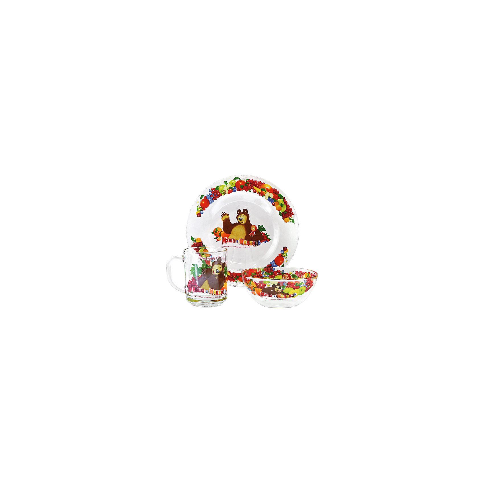 Набор посуды Фруктовая корзина (3 предмета, стекло), Маша и МедведьНабор посуды Фруктовая корзина (3 предмета, стекло), Маша и Медведь – посуда с героями мультсериала «Маша и Медведь» порадует ребенка.<br>Набор красочной детской посуды Маша и Медведь Фруктовая корзина выполненный из качественного стекла, идеально подойдет для повседневного использования. В комплект входят: кружка с удобной ручкой, салатник-супница, тарелка. Все предметы украшены яркими изображениями проказницы Маши, добродушного Медведя, ягод и фруктов. С такой посудой привычная еда станет более вкусной и приятной, а кормление малыша превратится в веселую и интересную игру.<br><br>Дополнительная информация:<br><br>- В наборе: кружка, салатник-супница, тарелка<br>- Материал: стекло<br>- Диаметр тарелки: 19,5 см.<br>- Диаметр салатника: 12,5 см.<br>- Высота салатника: 5 см.<br>- Объем кружки: 250 мл.<br>- Диаметр кружки: 7 см.<br>- Высота кружки: 9 см.<br>- Упаковка: удобная, красочная картонная коробка<br>- Размер упаковки: 20,5 x 11 x 20,5 см.<br>- Вес: 860 гр.<br>- Пригодна для мытья в посудомоечной машине<br><br>Набор посуды Фруктовая корзина (3 предмета, стекло), Маша и Медведь можно купить в нашем интернет-магазине.<br><br>Ширина мм: 205<br>Глубина мм: 110<br>Высота мм: 205<br>Вес г: 860<br>Возраст от месяцев: 36<br>Возраст до месяцев: 108<br>Пол: Унисекс<br>Возраст: Детский<br>SKU: 4606782