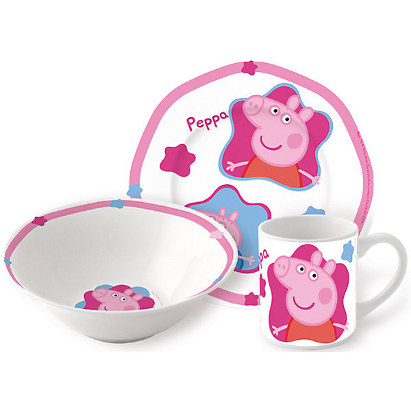 Набор посуды Свинка Пеппа (3 предмета, керамика)Свинка Пеппа<br>Набор посудыПеппа Пиг (3 предмета, керамика) – эта яркая красочная посуда поднимет настроение вашему ребенку.<br>Набор красочной детской посуды Пеппа Пиг выполненный из качественной керамики, идеально подойдет для повседневного использования. В комплект входят: кружка с удобной ручкой, миска, плоская тарелка для вторых блюд и десертов. Яркий набор выполнен в едином стиле, декорирован изображениями свинки Пеппы. С такой посудой привычная еда станет вкуснее!<br><br>Дополнительная информация:<br><br>- В наборе: кружка, миска, тарелка<br>- Материал: керамика<br>- Диаметр плоской тарелки для вторых блюд и десертов: 19 см.<br>- Диаметр миски: 18 см.<br>- Объем кружки: 210 мл.<br>- Упаковка: подарочная коробка<br>- Размер упаковки: 25 x 8,5 x 20 см.<br>- Вес: 973 гр.<br><br>Набор посудыПеппа Пиг (3 предмета, керамика) можно купить в нашем интернет-магазине.<br><br>Ширина мм: 250<br>Глубина мм: 85<br>Высота мм: 200<br>Вес г: 973<br>Цвет: розовый<br>Возраст от месяцев: 36<br>Возраст до месяцев: 84<br>Пол: Унисекс<br>Возраст: Детский<br>SKU: 4606783