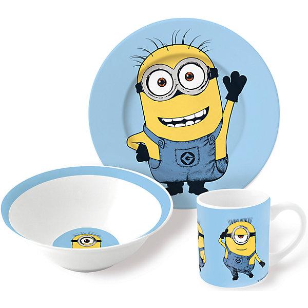 Набор посуды Миньоны (3 предмета, керамика)Миньоны<br>Набор посуды Миньоны (3 предмета, керамика) – эта яркая красочная посуда поднимет настроение вашему ребенку.<br>Набор красочной детской посуды Миньоны выполненный из качественной керамики, идеально подойдет для повседневного использования. В комплект входят: кружка с удобной ручкой, суповая тарелка, плоская тарелка для вторых блюд и десертов. Яркий набор выполнен в едином стиле, декорирован изображениями Миньонов, героев мультсериала «Гадкий Я». С такой посудой привычная еда станет более вкусной и приятной, а кормление малыша превратится в веселую и интересную игру.<br><br>Дополнительная информация:<br><br>- В наборе: кружка, суповая тарелка, тарелка<br>- Материал: керамика<br>- Диаметр плоской тарелки для вторых блюд и десертов: 19 см.<br>- Диаметр суповой тарелки: 15 см.<br>- Объем кружки: 250 мл.<br>- Упаковка: подарочная коробка<br>- Размер упаковки: 25 x 8,5 x 20 см.<br>- Вес: 973 гр.<br><br>Набор посуды Миньоны (3 предмета, керамика) можно купить в нашем интернет-магазине.<br><br>Ширина мм: 250<br>Глубина мм: 85<br>Высота мм: 200<br>Вес г: 973<br>Возраст от месяцев: 36<br>Возраст до месяцев: 144<br>Пол: Унисекс<br>Возраст: Детский<br>SKU: 4606785