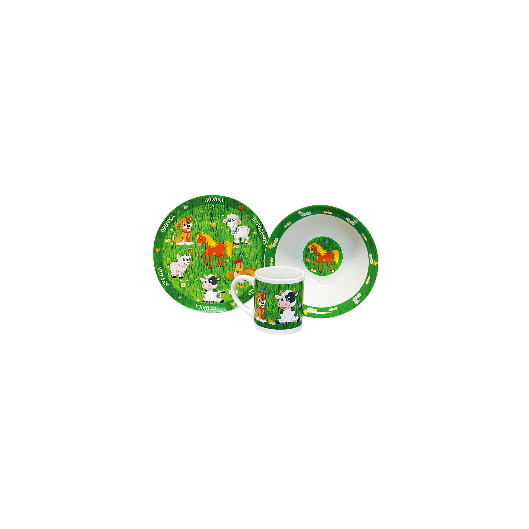 Набор Домашние животные (3 предмета, керамика)Посуда<br>Набор Домашние животные (3 предмета, керамика) – эта яркая красочная посуда поднимет настроение вашему ребенку.<br>Набор красочной детской посуды Домашние животные выполненный из качественной керамики, идеально подойдет для повседневного использования. В комплект входят: кружка с удобной ручкой, суповая тарелка, плоская тарелка для вторых блюд и десертов. Яркий набор выполнен в едином стиле, декорирован изображениями домашних животных. С такой посудой привычная еда станет более вкусной и приятной, а кормление малыша превратится в веселую и интересную игру.<br><br>Дополнительная информация:<br><br>- В наборе: кружка, суповая тарелка, тарелка<br>- Материал: керамика<br>- Диаметр плоской тарелки для вторых блюд и десертов: 19 см.<br>- Диаметр суповой тарелки: 18 см.<br>- Объем кружки: 240 мл.<br>- Упаковка: подарочная коробка<br>- Размер упаковки: 25 x 8,5 x 20 см.<br>- Вес: 912 гр.<br>- Пригодна для мытья в посудомоечной машине<br><br>Набор Домашние животные (3 предмета, керамика) можно купить в нашем интернет-магазине.<br><br>Ширина мм: 250<br>Глубина мм: 85<br>Высота мм: 200<br>Вес г: 912<br>Возраст от месяцев: 36<br>Возраст до месяцев: 144<br>Пол: Унисекс<br>Возраст: Детский<br>SKU: 4606788
