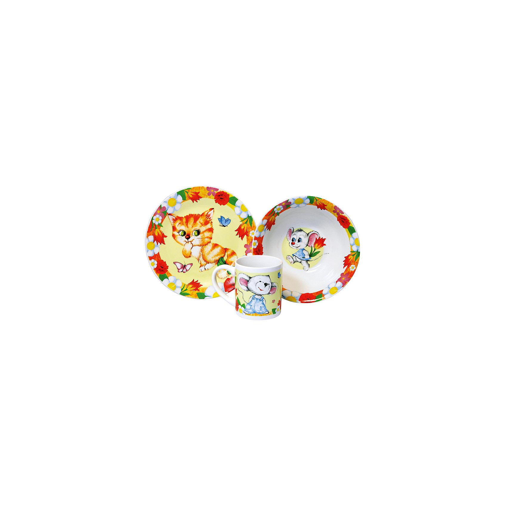 Набор Кошки-мышки (3 предмета, керамика)Набор Кошки-мышки (3 предмета, керамика) – эта яркая красочная посуда поднимет настроение вашему ребенку.<br>Набор красочной детской посуды Кошки-мышки выполненный из качественной керамики, идеально подойдет для повседневного использования. В комплект входят: кружка с удобной ручкой, суповая тарелка, плоская тарелка для вторых блюд и десертов. Яркий набор выполнен в едином стиле, декорирован изображениями милого котенка и забавных мышат. С такой посудой привычная еда станет более вкусной и приятной, а кормление малыша превратится в веселую и интересную игру.<br><br>Дополнительная информация:<br><br>- В наборе: кружка, суповая тарелка, тарелка<br>- Материал: керамика<br>- Диаметр плоской тарелки для вторых блюд и десертов: 19 см.<br>- Диаметр суповой тарелки: 18 см.<br>- Объем кружки: 240 мл.<br>- Упаковка: подарочная коробка<br>- Размер упаковки: 25 x 8,5 x 20 см.<br>- Вес: 912 гр.<br>- Пригодна для мытья в посудомоечной машине<br><br>Набор Кошки-мышки (3 предмета, керамика) можно купить в нашем интернет-магазине.<br><br>Ширина мм: 250<br>Глубина мм: 85<br>Высота мм: 200<br>Вес г: 912<br>Возраст от месяцев: 36<br>Возраст до месяцев: 144<br>Пол: Унисекс<br>Возраст: Детский<br>SKU: 4606789