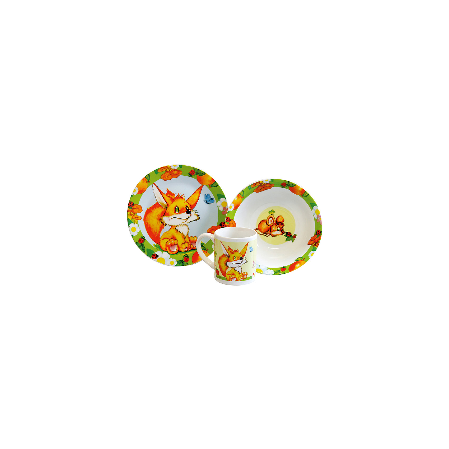 Набор Лисичка (3 предмета, керамика)Набор Лисичка (3 предмета, керамика) – эта яркая красочная посуда поднимет настроение вашему ребенку.<br>Набор красочной детской посуды Лисичка выполненный из качественной керамики, идеально подойдет для повседневного использования. В комплект входят: кружка с удобной ручкой, суповая тарелка, плоская тарелка для вторых блюд и десертов. Яркий набор выполнен в едином стиле, декорирован изображениями забавного лисенка и мышонка. С такой посудой привычная еда станет более вкусной и приятной, а кормление малыша превратится в веселую и интересную игру.<br><br>Дополнительная информация:<br><br>- В наборе: кружка, суповая тарелка, тарелка<br>- Материал: керамика<br>- Диаметр плоской тарелки для вторых блюд и десертов: 19 см.<br>- Диаметр суповой тарелки: 18 см.<br>- Объем кружки: 240 мл.<br>- Упаковка: подарочная коробка<br>- Размер упаковки: 25 x 8,5 x 20 см.<br>- Вес: 912 гр.<br>- Пригодна для мытья в посудомоечной машине<br><br>Набор Лисичка (3 предмета, керамика) можно купить в нашем интернет-магазине.<br><br>Ширина мм: 250<br>Глубина мм: 85<br>Высота мм: 200<br>Вес г: 912<br>Возраст от месяцев: 36<br>Возраст до месяцев: 144<br>Пол: Унисекс<br>Возраст: Детский<br>SKU: 4606790