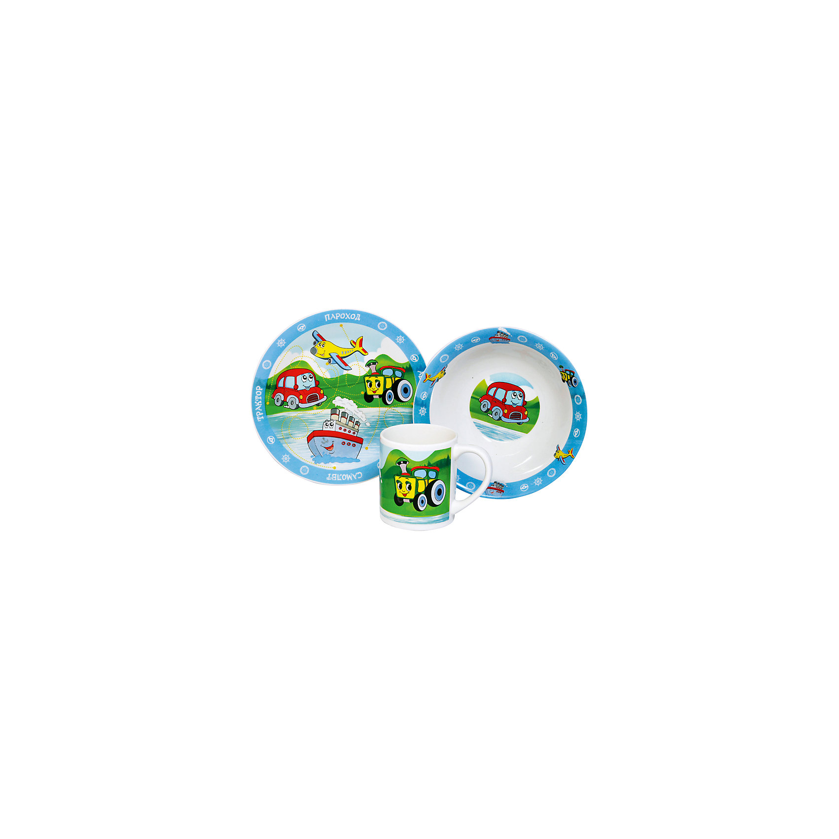 Набор Транспорт (3 предмета, керамика)Набор Транспорт (3 предмета, керамика) – яркая посуда поднимет настроение вашему ребенку.<br>Набор красочной детской посуды Транспорт выполненный из качественной керамики, идеально подойдет для повседневного использования. В комплект входят: кружка с удобной ручкой, суповая тарелка, плоская тарелка для вторых блюд и десертов. Яркий набор выполнен в едином стиле, декорирован забавными изображениями транспортных средств. С такой посудой привычная еда станет более вкусной и приятной, а кормление малыша превратится в веселую и интересную игру.<br><br>Дополнительная информация:<br><br>- В наборе: кружка, суповая тарелка, тарелка<br>- Материал: керамика<br>- Диаметр плоской тарелки для вторых блюд и десертов: 19 см.<br>- Диаметр суповой тарелки: 18 см.<br>- Объем кружки: 240 мл.<br>- Упаковка: подарочная коробка<br>- Размер упаковки: 25 x 8,5 x 20 см.<br>- Вес: 912 гр.<br>- Пригодна для мытья в посудомоечной машине<br><br>Набор Транспорт (3 предмета, керамика) можно купить в нашем интернет-магазине.<br><br>Ширина мм: 250<br>Глубина мм: 85<br>Высота мм: 200<br>Вес г: 912<br>Возраст от месяцев: 36<br>Возраст до месяцев: 144<br>Пол: Унисекс<br>Возраст: Детский<br>SKU: 4606792