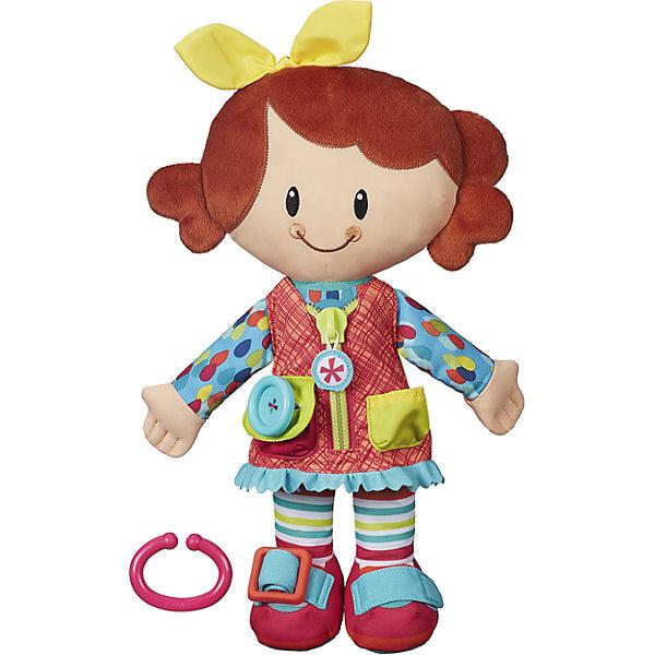 Одень друга и возьми с собой, в ассортименте, PLAYSKOOLБренды кукол<br>Одень друга и возьми с собой, Playskool - это милая очаровательная куколка, созданная специально для малышей. Кукла полностью выполнена из мягких текстильных материалов. У нее рыжие волосы с желтым бантиком и веселое улыбающееся личико. Приятные ткани разных фактур и цветов хорошо сочетаются друг с другом и способствуют развитию тактильного и цветового восприятия у ребенка. Куколка одета в голубую кофточку в яркий горошек и красный сарафан с молнией и карманами, на ножках забавные полосатые колготки и красные туфельки (одежда пришита, не снимается). У куколки пять видов застежек, которые позволяют развивать мелкую моторику малыша: молния, пряжка, пуговица, липучка и узелок. К игрушке прилагается кольцо, с помощью которого ее можно прикрепить к коляске или сумке. <br><br>Дополнительная информация:<br><br>- В комплекте: кукла, кольцо для крепления к коляскам/сумкам.<br>- Материал: плюш, текстиль, пластик.<br>- Размер упаковки: 24 x 10 x 37 см.  <br>- Вес: 0,376 кг. <br><br>Одень друга и возьми с собой, Playskool, можно купить в нашем интернет-магазине.<br>Ширина мм: 98; Глубина мм: 241; Высота мм: 368; Вес г: 376; Возраст от месяцев: 24; Возраст до месяцев: 84; Пол: Унисекс; Возраст: Детский; SKU: 4610613;