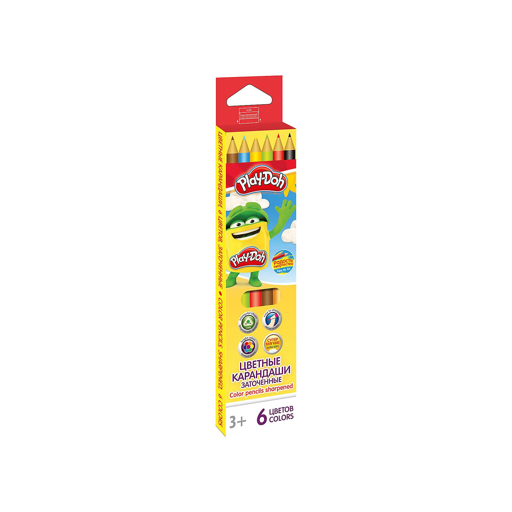 Академия групп Цветные карандаши 6 цветов, Play-Doh свеча ароматизированная sima land лимон на подставке высота 6 см