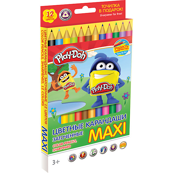 Цветные карандаши Maxi 12 цветов, Play-DohPlay-Doh<br>Набор цветных карандашей, MAXI, 12 шт., трехгранные; точилка. Длина 17,8 см; заточенные; розовое дерево; прочный утолщенный грифель ? 5 мм;  логотип  тиснение золотом. Размер 28 х 14,5 х 1,5 см. Play Doh<br>Ширина мм: 208; Глубина мм: 115; Высота мм: 12; Вес г: 157; Возраст от месяцев: 36; Возраст до месяцев: 72; Пол: Унисекс; Возраст: Детский; SKU: 4614751;