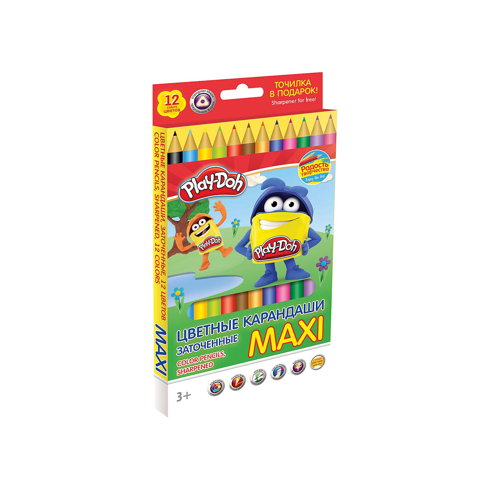 Академия групп Цветные карандаши Maxi 12 цветов, Play-Doh play doh набор для лепки магазинчик печенья play doh