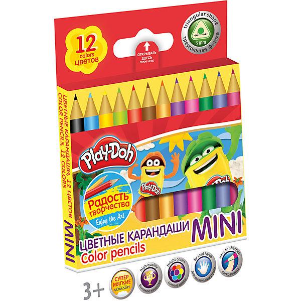 Цветные карандаши Mini 12 цветов, Play-DohPlay-Doh<br>Набор цветных карандашей, MINI, 12 шт., трехгранные.  Длина 8,9 см; заточенные; розовое дерево; прочный грифель ? 3 мм;  логотип  тиснение золотом.  Размер 9 х 8,6 х 0,8 см. Play Doh<br>Ширина мм: 90; Глубина мм: 86; Высота мм: 8; Вес г: 36; Возраст от месяцев: 36; Возраст до месяцев: 108; Пол: Унисекс; Возраст: Детский; SKU: 4614752;