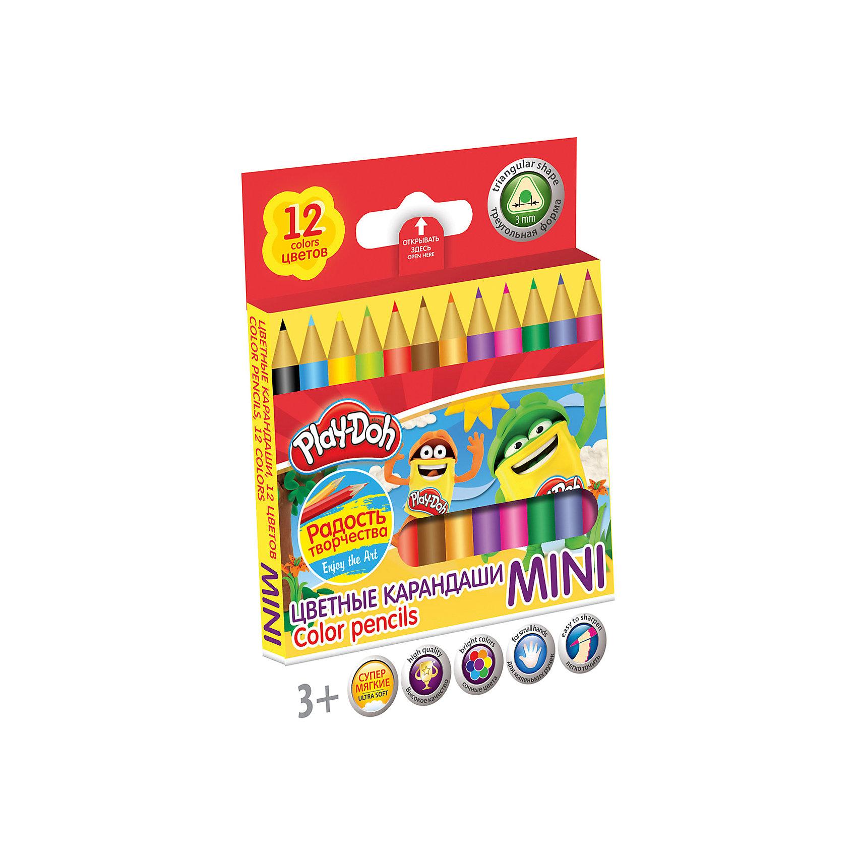 Академия групп Цветные карандаши Mini 12 цветов, Play-Doh