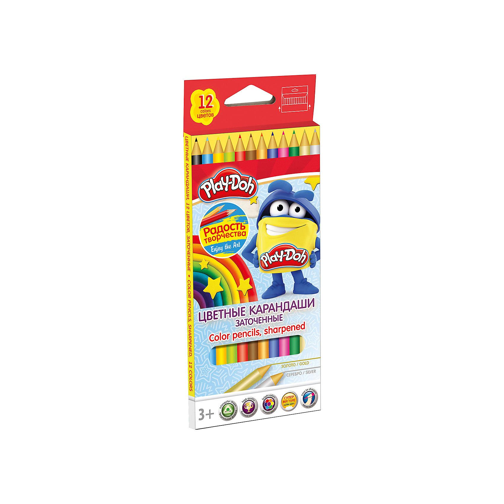 Академия групп Цветные карандаши 12 цветов, Play-Doh play doh набор для лепки магазинчик печенья play doh