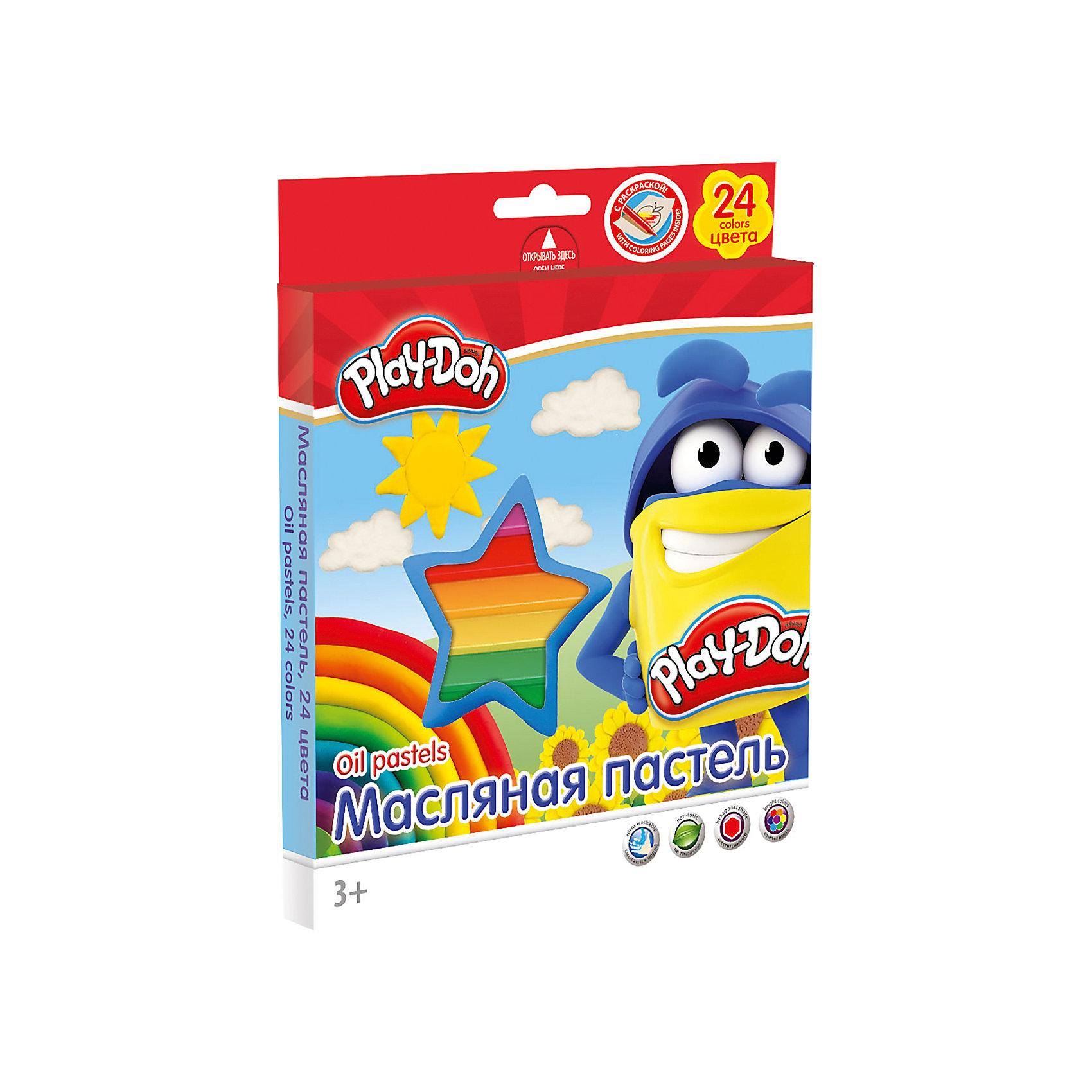 Масляная пастель (24 цвета) с раскрасками (2 шт), Play-DohРисование<br>Масляная пастель  24 цв., 2 раскраски. Размер 1 мелка: длина 7,5 см, диаметр 1,1 см. Каждый мелок обклеен бумажной оберткой. Упаковка   картонная коробка с ПВХ окном, с пластиковым ложементом и европодвесом. Размер 19,8 х 16,7 х 1,8 см.Play Doh<br><br>Ширина мм: 198<br>Глубина мм: 167<br>Высота мм: 18<br>Вес г: 260<br>Возраст от месяцев: 36<br>Возраст до месяцев: 168<br>Пол: Унисекс<br>Возраст: Детский<br>SKU: 4614756