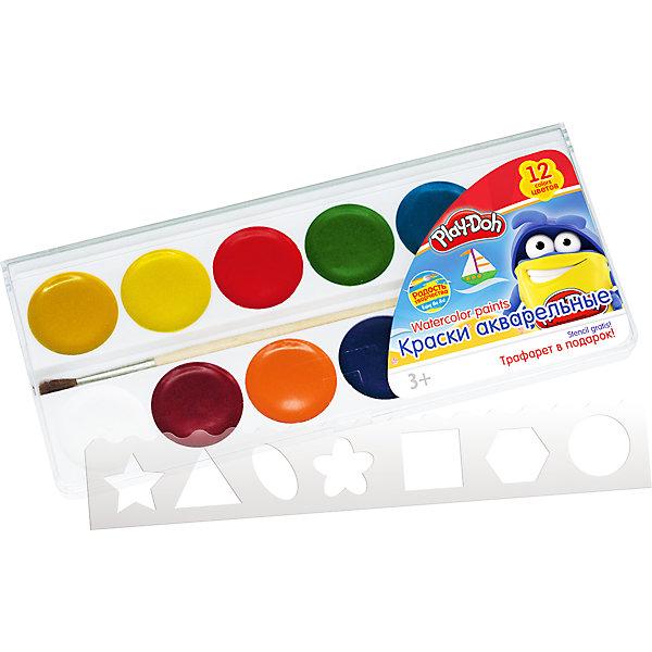 Акварельные медовые краски 12 цветов, Play-DohPlay-Doh<br>Краски акварельные (медовые)  12 цветов, кисть, пластиковый трафарет. Упаковка  пластиковая коробка с прозрачной крышкой и стикером. Размер 18,6 х 8,1 х 1,2 см. Play Doh<br>Ширина мм: 186; Глубина мм: 81; Высота мм: 12; Вес г: 95; Возраст от месяцев: 36; Возраст до месяцев: 108; Пол: Унисекс; Возраст: Детский; SKU: 4614759;