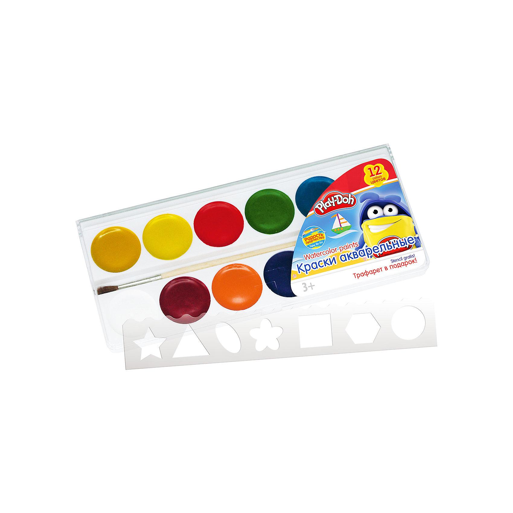 Акварельные медовые краски 12 цветов, Play-DohКраски акварельные (медовые)  12 цветов, кисть, пластиковый трафарет. Упаковка  пластиковая коробка с прозрачной крышкой и стикером. Размер 18,6 х 8,1 х 1,2 см. Play Doh<br><br>Ширина мм: 186<br>Глубина мм: 81<br>Высота мм: 12<br>Вес г: 95<br>Возраст от месяцев: 36<br>Возраст до месяцев: 108<br>Пол: Унисекс<br>Возраст: Детский<br>SKU: 4614759