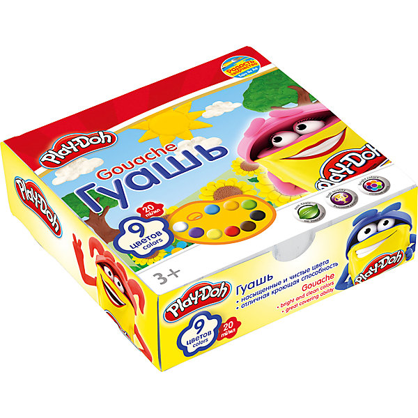 Гуашь 9 цветов, Play-DohPlay-Doh<br>Краски гуашевые 9 цв. Объем краски одного цвета 20 мл. Упаковка ? картонная коробка. Размер 12 х 12 х 3,8 см.Play Doh<br><br>Ширина мм: 120<br>Глубина мм: 120<br>Высота мм: 38<br>Вес г: 345<br>Возраст от месяцев: 36<br>Возраст до месяцев: 108<br>Пол: Унисекс<br>Возраст: Детский<br>SKU: 4614760