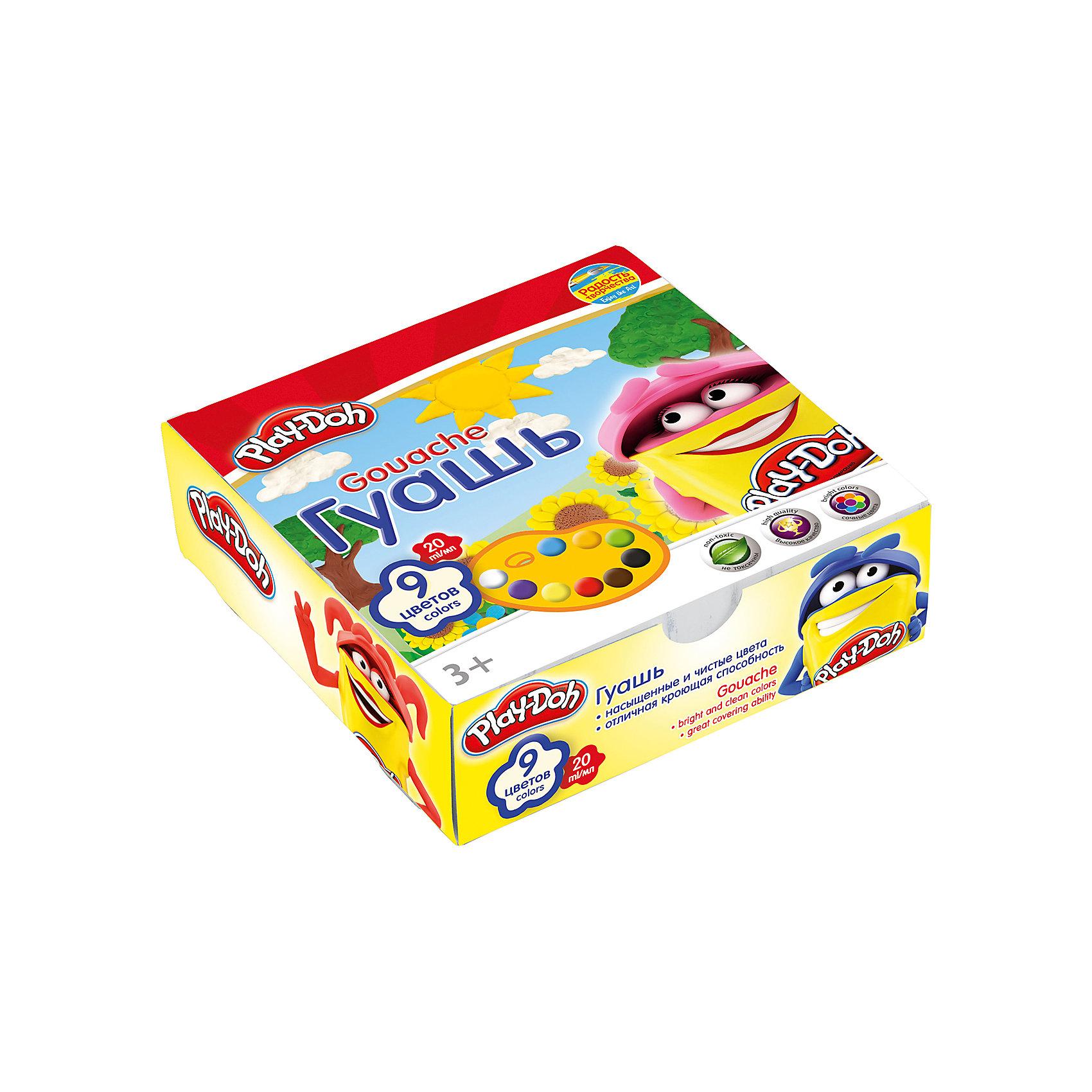 Гуашь 9 цветов, Play-DohКраски гуашевые 9 цв. Объем краски одного цвета 20 мл. Упаковка ? картонная коробка. Размер 12 х 12 х 3,8 см.Play Doh<br><br>Ширина мм: 120<br>Глубина мм: 120<br>Высота мм: 38<br>Вес г: 345<br>Возраст от месяцев: 36<br>Возраст до месяцев: 108<br>Пол: Унисекс<br>Возраст: Детский<br>SKU: 4614760