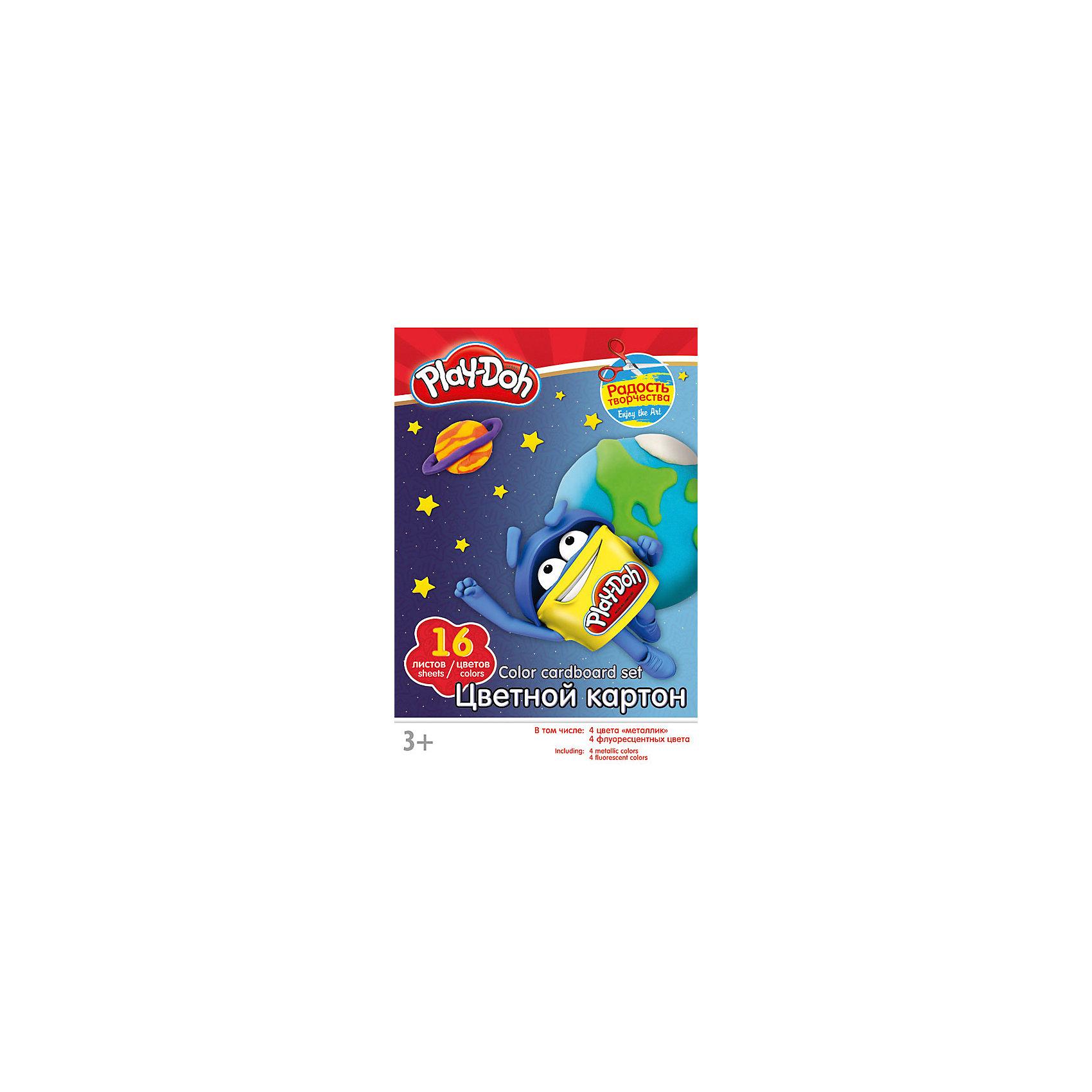 Академия групп Цветной картон 16 цветов, Play-Doh hasbro play doh игровой набор из 3 цветов цвета в ассортименте с 2 лет