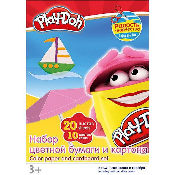 Цветные бумага и картон (20 листов), Play-Doh