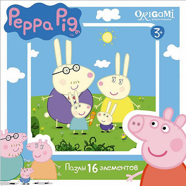 Пазл Свинка Пеппа, 16 деталей, OrigamiПазлы для малышей<br>Пазл Свинка Пеппа, Origami - увлекательный набор для творчества, который заинтересует Вашего малыша и подарит ему отличное настроение. Из деталей пазла он сможет собрать красочную картинку с изображением семейства кроликов из популярного мультсериала Свинка<br>Пеппа (Peppa Pig). Пазл отличается высоким качеством полиграфии и насыщенными цветами. Благодаря ламинированному покрытию, картинка надолго сохраняет свой блеск и яркие цвета. Составные элементы пазла отлично соединяются между собой. Собирание пазла способствует развитию логического и пространственного мышления, внимания, мелкой моторики и координации движений.<br><br>Дополнительная информация:<br><br>- Материал: картон. <br>- Количество деталей: 16.<br>- Размер собранной картинки: 21,2 х 21,2 см.<br>- Размер упаковки: 15 х 15 х 4 см.<br>- Вес: 130 гр.<br> <br>Пазл Свинка Пеппа, 16 деталей, Origami, можно купить в нашем интернет-магазине.<br><br>Ширина мм: 150<br>Глубина мм: 45<br>Высота мм: 150<br>Вес г: 130<br>Возраст от месяцев: 36<br>Возраст до месяцев: 96<br>Пол: Унисекс<br>Возраст: Детский<br>SKU: 4614925
