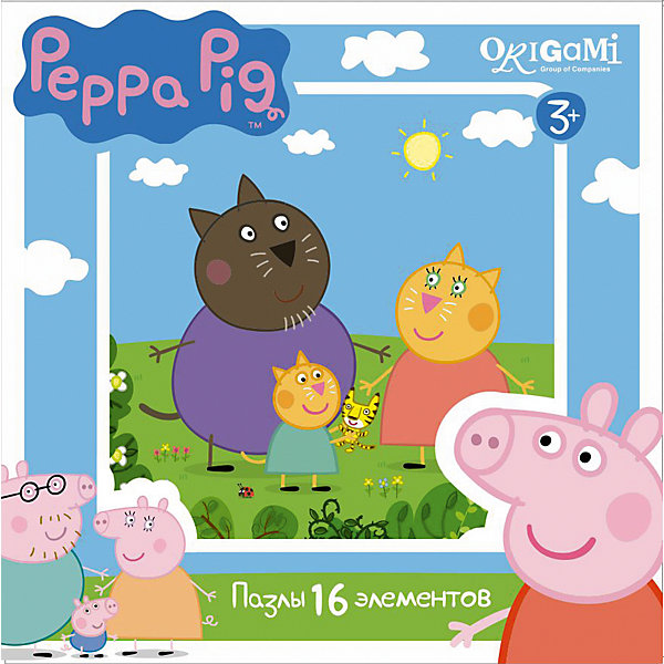 Пазл Свинка Пеппа, 16 деталей, OrigamiСвинка Пеппа<br>Пазл Свинка Пеппа, Origami - увлекательный набор для творчества, который заинтересует Вашего малыша и подарит ему отличное настроение. Из деталей пазла он сможет собрать красочную картинку с изображением кошечки Кэнди и ее семьи из популярного мультсериала Свинка Пеппа (Peppa Pig). Пазл отличается высоким качеством полиграфии и насыщенными цветами. Благодаря ламинированному покрытию, картинка надолго сохраняет свой блеск и яркие цвета. Плотный картон не дает деталям мяться и обеспечивает надежное соединение. Собирание<br>пазла способствует развитию логического и пространственного мышления, внимания, мелкой моторики и координации движений.<br><br>Дополнительная информация:<br><br>- Материал: картон. <br>- Количество деталей: 16.<br>- Размер собранной картинки: 21 х 21 см.<br>- Размер упаковки: 15 х 15 х 4 см.<br>- Вес: 130 гр.<br> <br>Пазл Свинка Пеппа, 16 деталей, Origami, можно купить в нашем интернет-магазине.<br>Ширина мм: 150; Глубина мм: 45; Высота мм: 150; Вес г: 130; Возраст от месяцев: 36; Возраст до месяцев: 96; Пол: Унисекс; Возраст: Детский; SKU: 4614926;