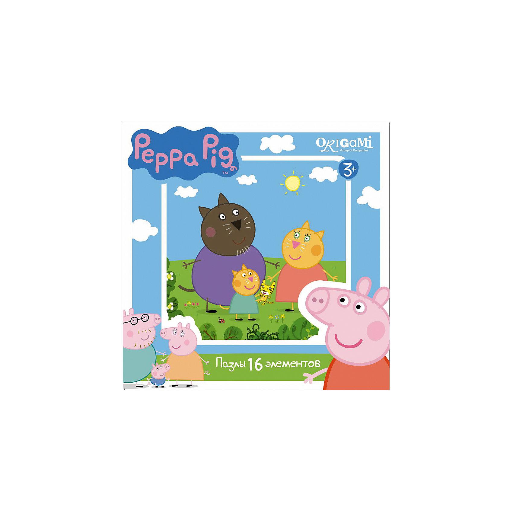 Пазл Свинка Пеппа, 16 деталей, OrigamiПазл Свинка Пеппа, Origami - увлекательный набор для творчества, который заинтересует Вашего малыша и подарит ему отличное настроение. Из деталей пазла он сможет собрать красочную картинку с изображением кошечки Кэнди и ее семьи из популярного мультсериала Свинка Пеппа (Peppa Pig). Пазл отличается высоким качеством полиграфии и насыщенными цветами. Благодаря ламинированному покрытию, картинка надолго сохраняет свой блеск и яркие цвета. Плотный картон не дает деталям мяться и обеспечивает надежное соединение. Собирание<br>пазла способствует развитию логического и пространственного мышления, внимания, мелкой моторики и координации движений.<br><br>Дополнительная информация:<br><br>- Материал: картон. <br>- Количество деталей: 16.<br>- Размер собранной картинки: 21 х 21 см.<br>- Размер упаковки: 15 х 15 х 4 см.<br>- Вес: 130 гр.<br> <br>Пазл Свинка Пеппа, 16 деталей, Origami, можно купить в нашем интернет-магазине.<br><br>Ширина мм: 150<br>Глубина мм: 45<br>Высота мм: 150<br>Вес г: 130<br>Возраст от месяцев: 36<br>Возраст до месяцев: 96<br>Пол: Унисекс<br>Возраст: Детский<br>SKU: 4614926