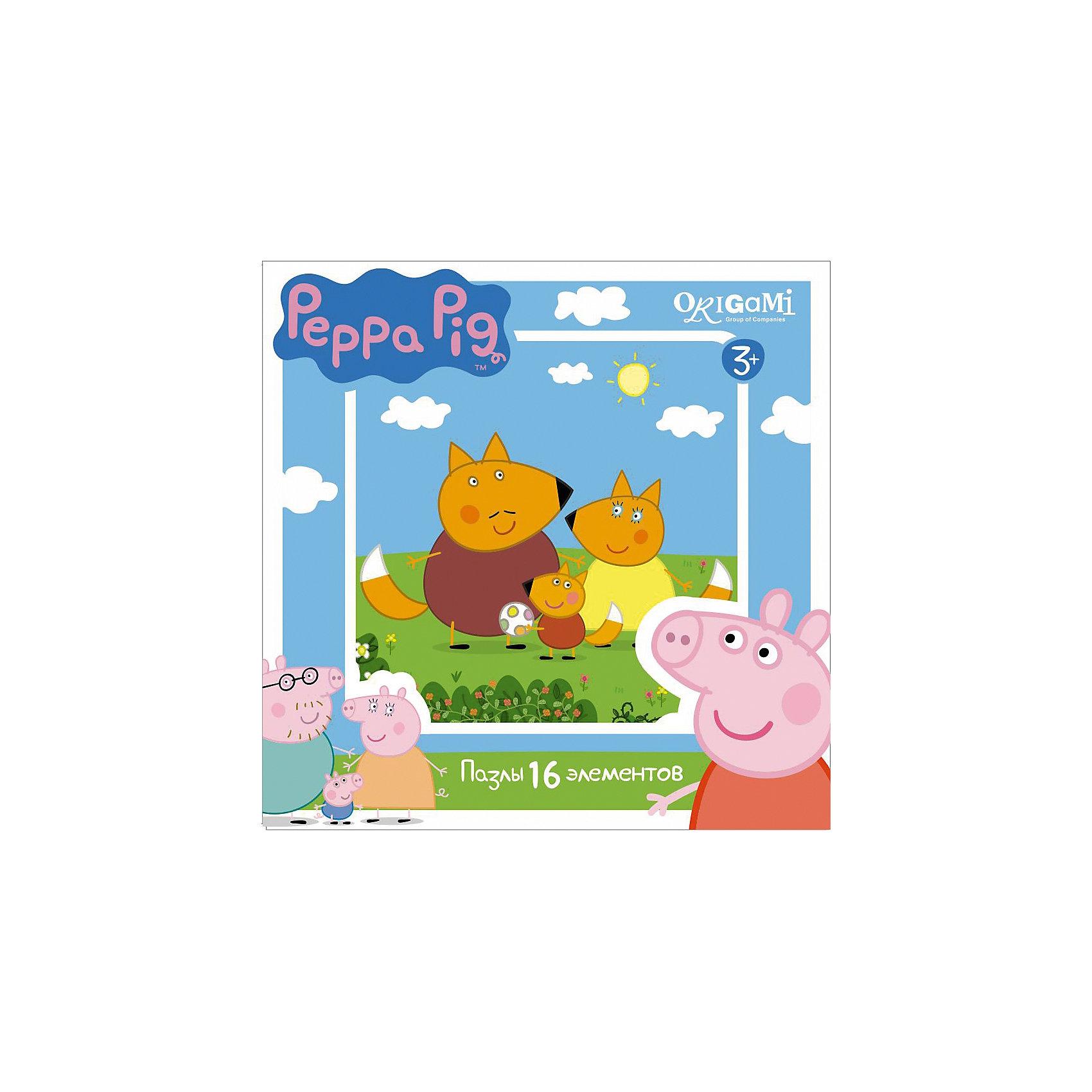 Пазл Свинка Пеппа, 16 деталей, OrigamiПазл Свинка Пеппа, Origami - увлекательный набор для творчества, который заинтересует Вашего малыша и подарит ему отличное настроение. Из деталей пазла он сможет собрать красочную картинку с изображением лисенка Фредди и его семьи из популярного мультсериала<br>Свинка Пеппа (Peppa Pig). Пазл отличается высоким качеством полиграфии и насыщенными цветами. Благодаря ламинированному покрытию, картинка надолго сохраняет свой блеск и яркие цвета. Плотный картон не дает деталям мяться и обеспечивает надежное соединение. Собирание пазла способствует развитию логического и пространственного мышления, внимания, мелкой моторики и координации движений.<br><br>Дополнительная информация:<br><br>- Материал: картон. <br>- Количество деталей: 16.<br>- Размер собранной картинки: 21 х 21 см.<br>- Размер упаковки: 15 х 15 х 4 см.<br>- Вес: 130 гр.<br> <br>Пазл Свинка Пеппа, 16 деталей, Origami, можно купить в нашем интернет-магазине.<br><br>Ширина мм: 150<br>Глубина мм: 45<br>Высота мм: 150<br>Вес г: 130<br>Возраст от месяцев: 36<br>Возраст до месяцев: 96<br>Пол: Унисекс<br>Возраст: Детский<br>SKU: 4614927