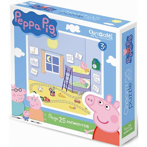 Пазл Свинка Пеппа, 25 деталей, OrigamiСвинка Пеппа<br>Пазл Свинка Пеппа, Origami - увлекательный набор для творчества, который заинтересует Вашего малыша и подарит ему отличное настроение. Из деталей пазла он сможет собрать красочную картинку с веселым сюжетом из популярного мультсериала Свинка Пеппа (Peppa Pig): Пеппа и ее братик Джордж готовятся ко сну в своих уютных кроватках. Пазл отличается высоким качеством полиграфии и насыщенными цветами. Благодаря ламинированному покрытию, картинка надолго сохраняет свой блеск и яркие цвета. Плотный картон не дает деталям мяться и обеспечивает надежное соединение. Собирание пазла способствует развитию логического и пространственного мышления, внимания, мелкой моторики и координации движений.<br><br>Дополнительная информация:<br><br>- Материал: картон. <br>- Количество деталей: 25.<br>- Размер собранной картинки: 21 х 21 см.<br>- Размер упаковки: 15 х 15 х 4 см.<br>- Вес: 130 гр.<br> <br>Пазл Свинка Пеппа, 25 деталей, Origami, можно купить в нашем интернет-магазине.<br><br>Ширина мм: 150<br>Глубина мм: 45<br>Высота мм: 150<br>Вес г: 130<br>Возраст от месяцев: 36<br>Возраст до месяцев: 96<br>Пол: Унисекс<br>Возраст: Детский<br>SKU: 4614929