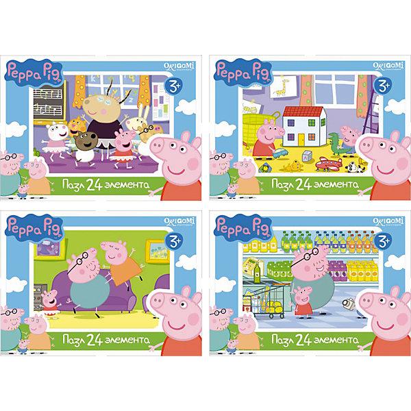 Мини-пазл Свинка Пеппа, 24 детали, OrigamiПазлы для малышей<br>Мини-пазл Свинка Пеппа, Origami - увлекательный набор для творчества, который заинтересует Вашего малыша и подарит ему отличное настроение. Из деталей пазла он сможет собрать красочную картинку с веселым сюжетом из популярного мультсериала Peppa Pig (в ассортименте картинки В танцевальном классе, Игра с Джорджем, Танцы, В магазине). Пазл отличается высоким качеством полиграфии и насыщенными цветами. Благодаря ламинированному покрытию, картинка надолго сохраняет свой блеск и яркие цвета. Плотный картон не дает деталям мяться и обеспечивает надежное соединение. Собирание пазла способствует развитию логического и пространственного мышления, внимания, мелкой моторики и координации движений.<br><br>Дополнительная информация:<br><br>- Материал: картон. <br>- Количество деталей: 24.<br>- Размер собранной картинки: 18 х 13 см.<br>- Размер упаковки: 9 х 2,5 х 6,5 см.<br>- Вес: 30 гр.<br> <br>Мини-пазл Свинка Пеппа, 24 детали, Origami, можно купить в нашем интернет-магазине.<br><br>Ширина мм: 90<br>Глубина мм: 25<br>Высота мм: 65<br>Вес г: 30<br>Возраст от месяцев: 36<br>Возраст до месяцев: 96<br>Пол: Унисекс<br>Возраст: Детский<br>SKU: 4614930