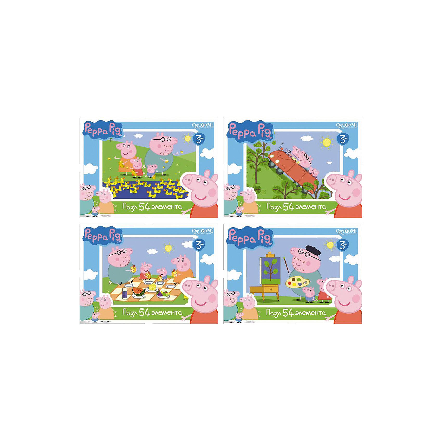 Мини-пазл Свинка Пеппа, 54 детали, OrigamiМини-пазл Свинка Пеппа, Origami - увлекательный набор для творчества, который заинтересует Вашего малыша и подарит ему отличное настроение. Из деталей пазла он сможет собрать красочную картинку с веселым сюжетом из популярного мультсериала Peppa Pig (в ассортименте 4 эпизода). Пазл отличается высоким качеством полиграфии и насыщенными цветами. Благодаря ламинированному покрытию, картинка надолго сохраняет свой блеск и яркие цвета. Плотный картон не дает деталям мяться и обеспечивает надежное соединение. Собирание пазла способствует развитию логического и пространственного мышления, внимания, мелкой моторики и координации движений.<br><br>Дополнительная информация:<br><br>- Материал: картон. <br>- Количество деталей: 54.<br>- Размер собранной картинки: 13 х 10 см.<br>- Размер упаковки: 15 х 4 х 12 см.<br>- Вес: 30 гр.<br> <br>Мини-пазл Свинка Пеппа, 54 детали, Origami, можно купить в нашем интернет-магазине.<br><br>Ширина мм: 90<br>Глубина мм: 25<br>Высота мм: 65<br>Вес г: 30<br>Возраст от месяцев: 36<br>Возраст до месяцев: 96<br>Пол: Унисекс<br>Возраст: Детский<br>SKU: 4614931