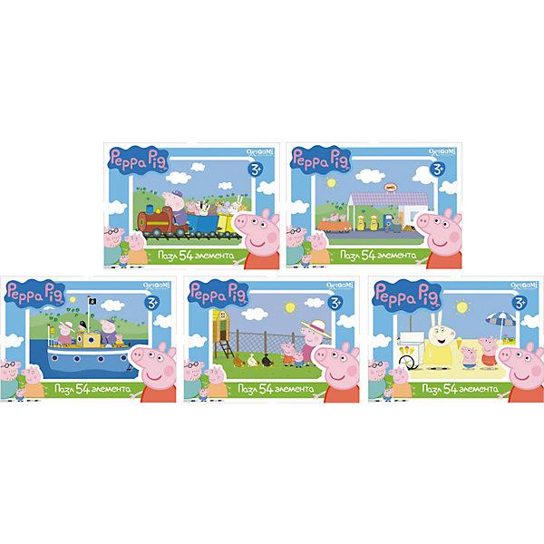 Мини-пазл Свинка Пеппа, 54 детали, OrigamiПазлы для малышей<br>Мини-пазл Свинка Пеппа, Origami - увлекательный набор для творчества, который заинтересует Вашего малыша и подарит ему отличное настроение. Из деталей пазла он сможет собрать красочную картинку с веселым сюжетом из популярного мультсериала Peppa Pig (в ассортименте эпизоды Поезд, На заправке, Морское приключение, На ферме, На пляже). Пазл отличается высоким качеством полиграфии и насыщенными цветами. Благодаря ламинированному покрытию, картинка надолго сохраняет свой блеск и яркие цвета. Плотный картон не дает деталям мяться и обеспечивает надежное соединение. Собирание пазла способствует развитию логического и пространственного мышления, внимания, мелкой моторики и координации движений.<br><br>Дополнительная информация:<br><br>- Материал: картон. <br>- Количество деталей: 54.<br>- Размер собранной картинки: 18 х 13 см.<br>- Размер упаковки: 15 х 4 х 12 см.<br>- Вес: 30 гр.<br> <br>Мини-пазл Свинка Пеппа, 54 детали, Origami, можно купить в нашем интернет-магазине.<br><br>Ширина мм: 90<br>Глубина мм: 25<br>Высота мм: 65<br>Вес г: 30<br>Возраст от месяцев: 36<br>Возраст до месяцев: 96<br>Пол: Унисекс<br>Возраст: Детский<br>SKU: 4614932