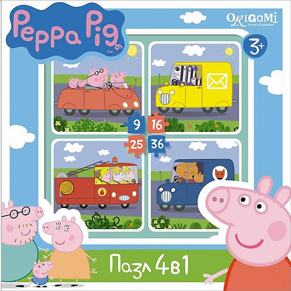 Набор из 4-х пазлов Транспорт, 9*16*25*36 деталей, Свинка Пеппа, OrigamiПазлы для малышей<br>Набор из 4-х пазлов Транспорт, Свинка Пеппа, Origami - увлекательный набор для творчества, который заинтересует Вашего малыша и подарит ему отличное настроение. Из деталей пазла он сможет собрать четыре красочные картинки с веселыми сюжетами из популярного мультсериала Peppa Pig: забавные персонажи на своих средствах передвижения. Картинки отличаются количеством входящих в них деталей и уровнем сложности. Начинайте сборку с пазла на 9 элементов, постепенно усложняя задачу до 25 элементов. Набор обладает высоким качеством полиграфии и насыщенными цветами. Благодаря ламинированному покрытию, картинки надолго сохраняют свой блеск и яркие цвета. Плотный картон не дает деталям мяться и обеспечивает надежное соединение. Собирание пазла способствует развитию логического и пространственного мышления, внимания, мелкой моторики и координации движений.<br><br>Дополнительная информация:<br><br>- Материал: картон. <br>- Количество деталей: 9, 16, 25, 36.<br>- Размер собранной картинки: 15 х 15 см.<br>- Размер упаковки: 18,2 x 18,1 x 4,9  см.<br>- Вес: 30 гр.<br> <br>Набор из 4-х пазлов Транспорт, 9*16*25*36 деталей, Свинка Пеппа, Origami, можно купить в нашем интернет-магазине.<br>Ширина мм: 180; Глубина мм: 50; Высота мм: 180; Вес г: 160; Возраст от месяцев: 36; Возраст до месяцев: 96; Пол: Унисекс; Возраст: Детский; SKU: 4614933;