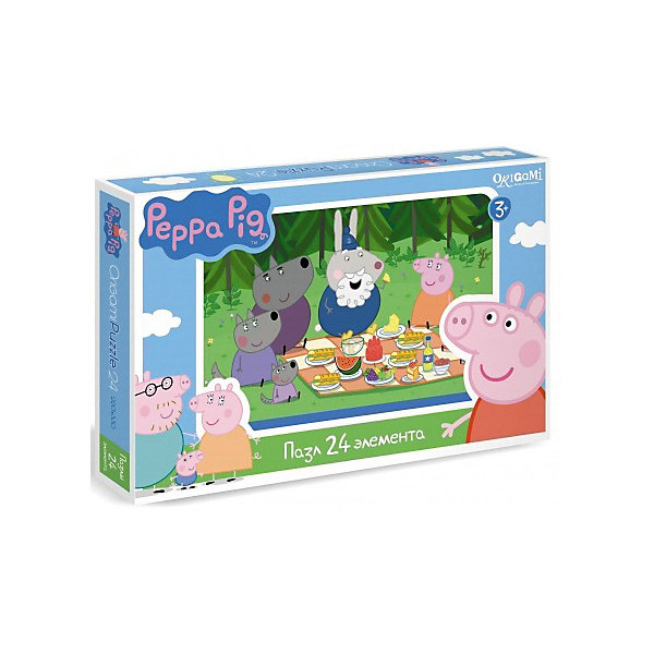 Пазл Свинка Пеппа, 24 детали, OrigamiСвинка Пеппа<br>Пазл Свинка Пеппа, Origami - увлекательный набор для творчества, который заинтересует Вашего малыша и подарит ему отличное настроение. Из деталей пазла он сможет собрать красочную картинку с веселым сюжетом из популярного мультсериала Peppa Pig: Мистер бык и его бригада ремонтируют дорогу при помощи крана и экскаватора. Пазл отличается высоким качеством полиграфии и насыщенными цветами. Благодаря ламинированному покрытию, картинка надолго сохраняет свой блеск и яркие цвета. Плотный картон не дает деталям мяться и обеспечивает надежное соединение. Собирание пазла способствует развитию логического и пространственного мышления, внимания, мелкой моторики и координации движений.<br><br>Дополнительная информация:<br><br>- Материал: картон. <br>- Количество деталей: 24.<br>- Размер собранной картинки: 22 х 33 см.<br>- Размер упаковки: 26,5 х 3,5 х 17,5 см.<br>- Вес: 230 гр.<br> <br>Пазл Свинка Пеппа, 24 детали, Origami, можно купить в нашем интернет-магазине.<br>Ширина мм: 265; Глубина мм: 35; Высота мм: 175; Вес г: 230; Возраст от месяцев: 36; Возраст до месяцев: 96; Пол: Унисекс; Возраст: Детский; SKU: 4614935;