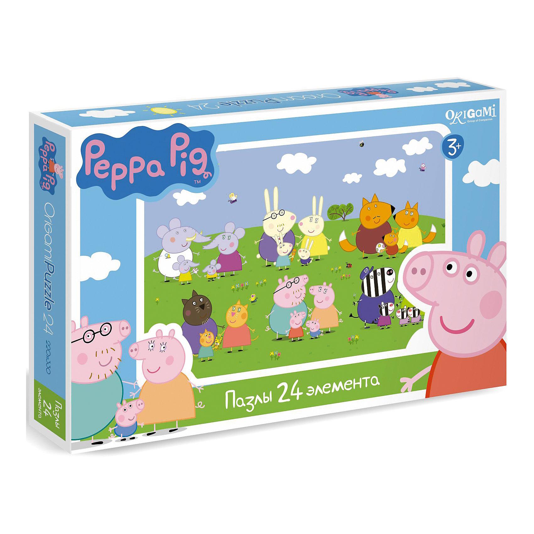 Пазл Свинка Пеппа, 24 детали, OrigamiПазлы для малышей<br>Пазл Свинка Пеппа, Origami - увлекательный набор для творчества, который заинтересует Вашего малыша и подарит ему отличное настроение. Из деталей пазла он сможет собрать красочную картинку с веселым сюжетом из популярного мультсериала Peppa Pig: на зеленой лужайке собрались семейства слоников, зайцев, лис, котов, зебр и, конечно же, свинок. Пазл отличается высоким качеством полиграфии и насыщенными цветами. Благодаря ламинированному покрытию, картинка надолго сохраняет свой блеск и яркие цвета. Плотный картон не дает деталям мяться и обеспечивает надежное соединение. Собирание пазла способствует развитию логического и пространственного мышления, внимания, мелкой моторики и координации движений.<br><br>Дополнительная информация:<br><br>- Материал: картон. <br>- Количество деталей: 24.<br>- Размер собранной картинки: 22 х 33 см.<br>- Размер упаковки: 26,5 х 3,5 х 17,5 см.<br>- Вес: 230 гр.<br> <br>Пазл Свинка Пеппа, 24 детали, Origami, можно купить в нашем интернет-магазине.<br><br>Ширина мм: 265<br>Глубина мм: 35<br>Высота мм: 175<br>Вес г: 230<br>Возраст от месяцев: 36<br>Возраст до месяцев: 96<br>Пол: Унисекс<br>Возраст: Детский<br>SKU: 4614936