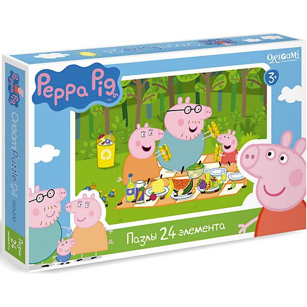 Пазл Свинка Пеппа, 24 детали, OrigamiСвинка Пеппа<br>Пазл Свинка Пеппа, Origami - увлекательный набор для творчества, который заинтересует Вашего малыша и подарит ему отличное настроение. Из деталей пазла он сможет собрать красочную картинку с веселым сюжетом из популярного мультсериала Peppa Pig: свинка Пеппа и ее семья готовятся к пикнику на зеленой полянке в лесу. Пазл отличается высоким качеством полиграфии и насыщенными цветами. Благодаря ламинированному покрытию, картинка надолго сохраняет свой блеск и яркие цвета. Плотный картон не дает деталям мяться и обеспечивает надежное соединение. Собирание пазла способствует развитию логического и пространственного мышления, внимания, мелкой моторики и координации движений.<br><br>Дополнительная информация:<br><br>- Материал: картон. <br>- Количество деталей: 24.<br>- Размер собранной картинки: 22 х 33 см.<br>- Размер упаковки: 26,5 х 3,5 х 17,5 см.<br>- Вес: 230 гр.<br> <br>Пазл Свинка Пеппа, 24 детали, Origami, можно купить в нашем интернет-магазине.<br>Ширина мм: 265; Глубина мм: 35; Высота мм: 175; Вес г: 230; Возраст от месяцев: 36; Возраст до месяцев: 96; Пол: Унисекс; Возраст: Детский; SKU: 4614937;