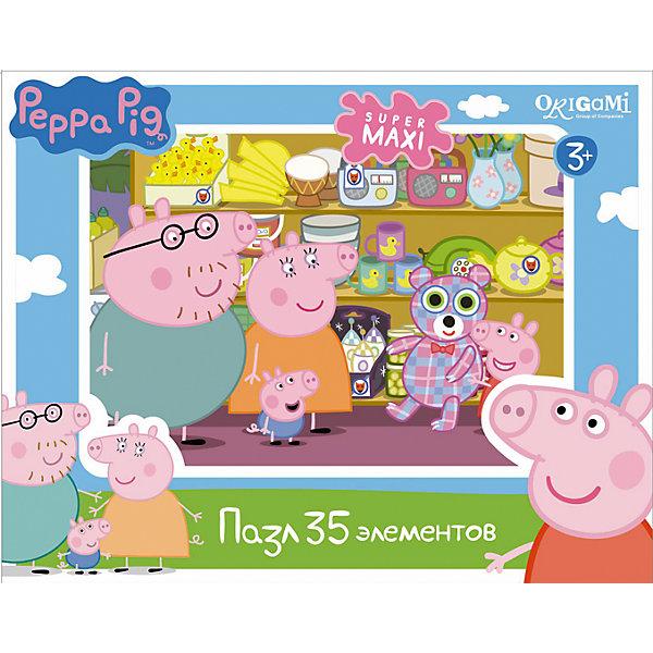Пазл Магазин игрушек, 35 деталей, Свинка Пеппа, OrigamiПазлы для малышей<br>Пазл Магазин игрушек, Свинка Пеппа, Origami - увлекательный набор для творчества, который заинтересует Вашего малыша и подарит ему отличное настроение. Из деталей пазла он сможет собрать красочную картинку с веселым сюжетом из популярного мультсериала Peppa Pig: семья свинок пришла в магазин игрушек, где Пеппа выбрала большого клетчатого медведя. Пазл отличается высоким качеством полиграфии и насыщенными цветами. Благодаря ламинированному покрытию картинка надолго сохраняет свой блеск и яркие цвета. Плотный картон не дает деталям мяться и обеспечивает надежное соединение. Собирание пазла способствует развитию логического и пространственного мышления, внимания, мелкой моторики и координации движений.<br><br>Дополнительная информация:<br><br>- Материал: картон. <br>- Количество деталей: 35.<br>- Размер собранной картинки: 33 х 47 см.<br>- Размер упаковки: 29 x 19 x 4 см.<br>- Вес: 226 гр.<br> <br>Пазл Магазин игрушек, 35 деталей, Свинка Пеппа, Origami, можно купить в нашем интернет-магазине.<br><br>Ширина мм: 230<br>Глубина мм: 50<br>Высота мм: 180<br>Вес г: 226<br>Возраст от месяцев: 36<br>Возраст до месяцев: 96<br>Пол: Унисекс<br>Возраст: Детский<br>SKU: 4614938
