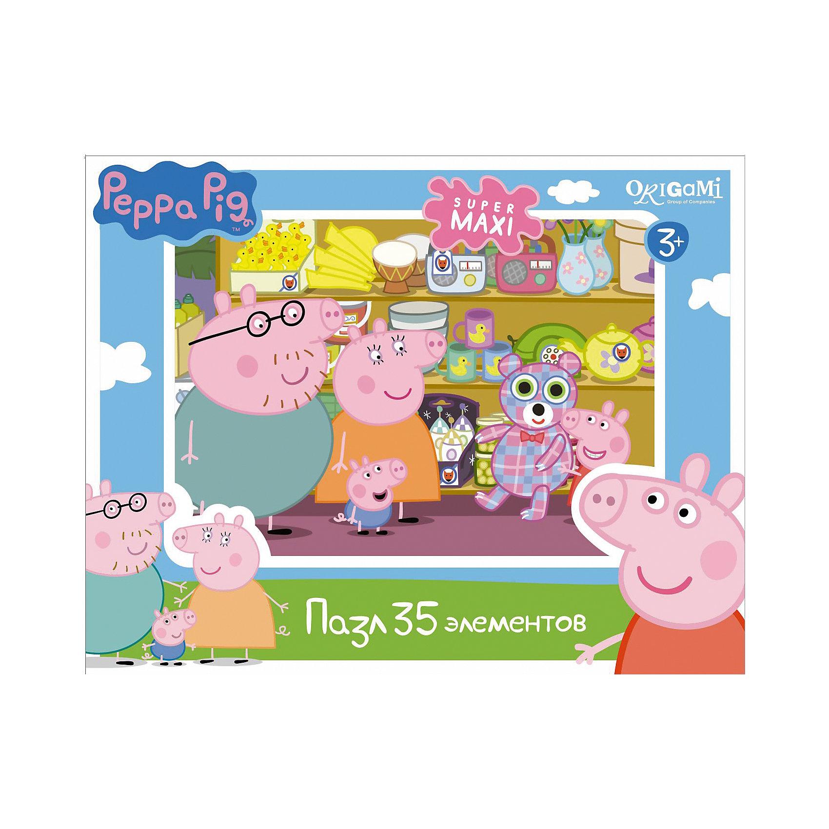 Пазл Магазин игрушек, 35 деталей, Свинка Пеппа, OrigamiСвинка Пеппа<br>Пазл Магазин игрушек, Свинка Пеппа, Origami - увлекательный набор для творчества, который заинтересует Вашего малыша и подарит ему отличное настроение. Из деталей пазла он сможет собрать красочную картинку с веселым сюжетом из популярного мультсериала Peppa Pig: семья свинок пришла в магазин игрушек, где Пеппа выбрала большого клетчатого медведя. Пазл отличается высоким качеством полиграфии и насыщенными цветами. Благодаря ламинированному покрытию картинка надолго сохраняет свой блеск и яркие цвета. Плотный картон не дает деталям мяться и обеспечивает надежное соединение. Собирание пазла способствует развитию логического и пространственного мышления, внимания, мелкой моторики и координации движений.<br><br>Дополнительная информация:<br><br>- Материал: картон. <br>- Количество деталей: 35.<br>- Размер собранной картинки: 33 х 47 см.<br>- Размер упаковки: 29 x 19 x 4 см.<br>- Вес: 226 гр.<br> <br>Пазл Магазин игрушек, 35 деталей, Свинка Пеппа, Origami, можно купить в нашем интернет-магазине.<br><br>Ширина мм: 230<br>Глубина мм: 50<br>Высота мм: 180<br>Вес г: 226<br>Возраст от месяцев: 36<br>Возраст до месяцев: 96<br>Пол: Унисекс<br>Возраст: Детский<br>SKU: 4614938