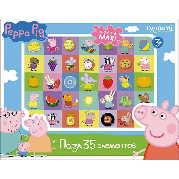 Пазл Герои и предметы, 35 деталей, Свинка Пеппа, OrigamiПазлы для малышей<br>Пазл Герои и предметы, Свинка Пеппа, Origami - увлекательный набор для творчества, который заинтересует Вашего малыша и подарит ему отличное настроение. Из деталей пазла он сможет собрать красочную картинку с изображениями любимых персонажей из популярного мультсериала Peppa Pig, а также различных предметов. Пазл отличается высоким качеством полиграфии и насыщенными цветами. Благодаря ламинированному покрытию картинка надолго сохраняет свой блеск и яркие цвета. Плотный картон не дает деталям мяться и обеспечивает надежное соединение. Собирание пазла способствует развитию логического и пространственного мышления, внимания, мелкой моторики и координации движений.<br><br>Дополнительная информация:<br><br>- Материал: картон. <br>- Количество деталей: 35.<br>- Размер собранной картинки: 33 х 47 см.<br>- Размер упаковки: 23 x 18 x 5 см.<br>- Вес: 226 гр.<br> <br>Пазл Герои и предметы, 35 деталей, Свинка Пеппа, Origami, можно купить в нашем интернет-магазине.<br><br>Ширина мм: 230<br>Глубина мм: 50<br>Высота мм: 180<br>Вес г: 226<br>Возраст от месяцев: 36<br>Возраст до месяцев: 96<br>Пол: Унисекс<br>Возраст: Детский<br>SKU: 4614939