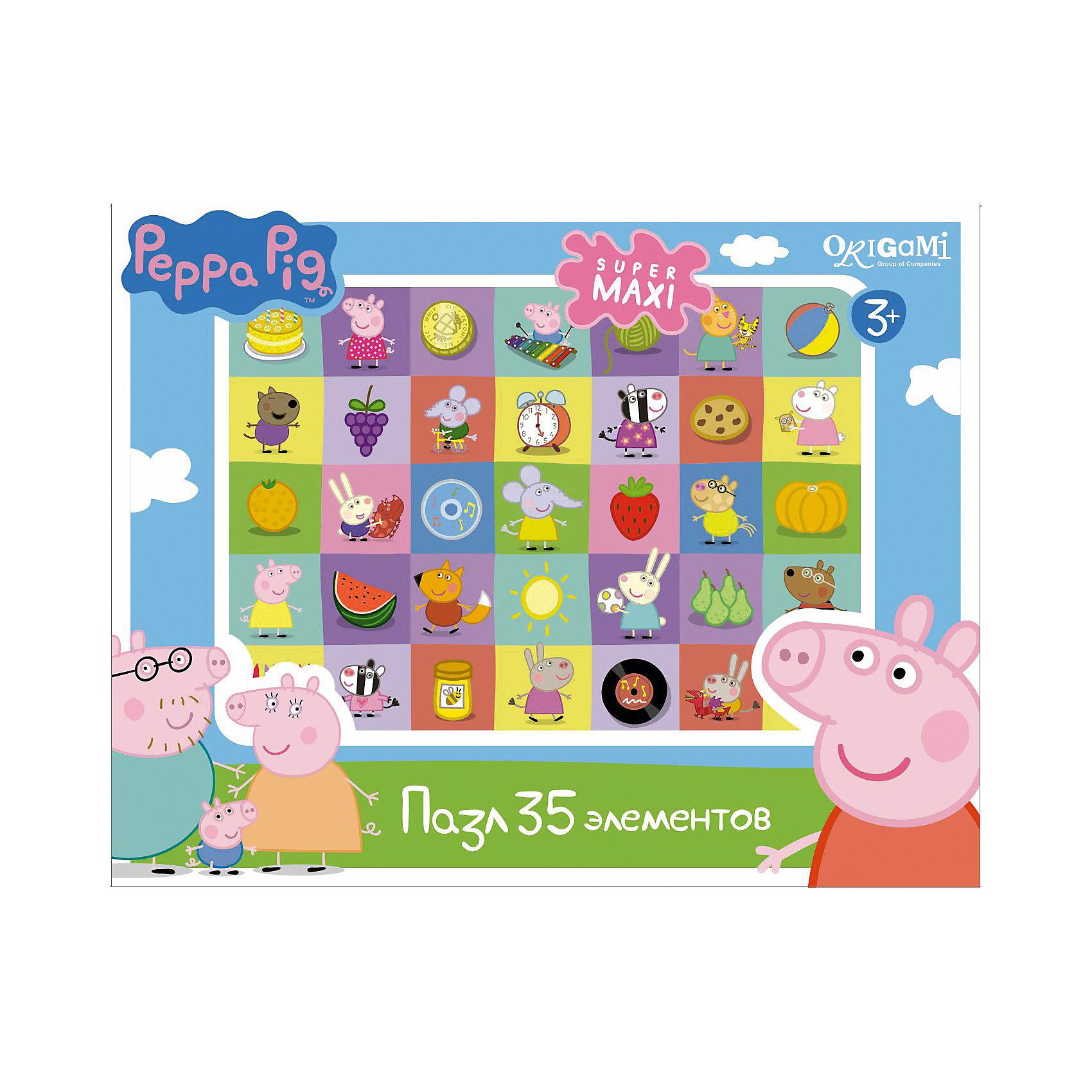 Пазл Герои и предметы, 35 деталей, Свинка Пеппа, OrigamiПазл Герои и предметы, Свинка Пеппа, Origami - увлекательный набор для творчества, который заинтересует Вашего малыша и подарит ему отличное настроение. Из деталей пазла он сможет собрать красочную картинку с изображениями любимых персонажей из популярного мультсериала Peppa Pig, а также различных предметов. Пазл отличается высоким качеством полиграфии и насыщенными цветами. Благодаря ламинированному покрытию картинка надолго сохраняет свой блеск и яркие цвета. Плотный картон не дает деталям мяться и обеспечивает надежное соединение. Собирание пазла способствует развитию логического и пространственного мышления, внимания, мелкой моторики и координации движений.<br><br>Дополнительная информация:<br><br>- Материал: картон. <br>- Количество деталей: 35.<br>- Размер собранной картинки: 33 х 47 см.<br>- Размер упаковки: 23 x 18 x 5 см.<br>- Вес: 226 гр.<br> <br>Пазл Герои и предметы, 35 деталей, Свинка Пеппа, Origami, можно купить в нашем интернет-магазине.<br><br>Ширина мм: 230<br>Глубина мм: 50<br>Высота мм: 180<br>Вес г: 226<br>Возраст от месяцев: 36<br>Возраст до месяцев: 96<br>Пол: Унисекс<br>Возраст: Детский<br>SKU: 4614939