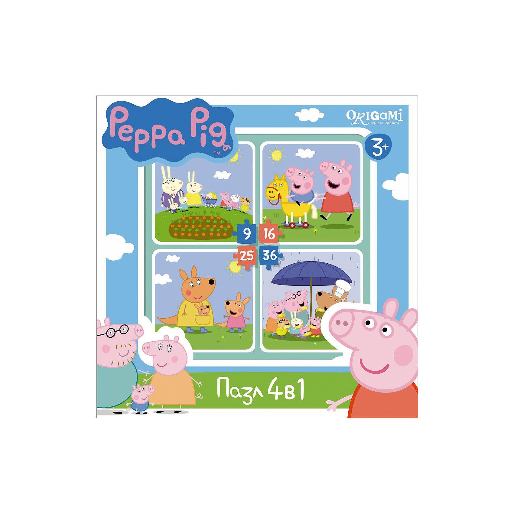 Набор из 4-х пазлов На отдыхе, 9*16*25*36 деталей, Свинка Пеппа, OrigamiПазлы для малышей<br>Набор из 4-х пазлов На отдыхе, Свинка Пеппа, Origami - увлекательный набор для творчества, который заинтересует Вашего малыша и подарит ему отличное настроение. Из деталей пазла он сможет собрать четыре красочные картинки с веселыми сюжетами из популярного мультсериала Peppa Pig: персонажи мультфильма на прогулке. Картинки отличаются количеством входящих в них деталей и уровнем сложности. Начинайте сборку с пазла на 9 элементов, постепенно усложняя задачу до 25 элементов. Набор обладает высоким качеством полиграфии и насыщенными цветами. Благодаря ламинированному покрытию картинки надолго сохраняют свой блеск и яркие цвета. Плотный картон не дает деталям мяться и обеспечивает надежное соединение. Собирание пазла способствует развитию логического и пространственного мышления, внимания, мелкой моторики и координации движений.<br><br>Дополнительная информация:<br><br>- Материал: картон. <br>- Количество деталей: 9, 16, 25, 36.<br>- Размер собранной картинки: 15 х 15 см.<br>- Размер упаковки: 18 x 18 x 5 см.<br>- Вес: 160 гр.<br> <br>Набор из 4-х пазлов На отдыхе, 9*16*25*36 деталей, Свинка Пеппа, Origami, можно купить в нашем интернет-магазине.<br><br>Ширина мм: 180<br>Глубина мм: 50<br>Высота мм: 180<br>Вес г: 160<br>Возраст от месяцев: 36<br>Возраст до месяцев: 96<br>Пол: Унисекс<br>Возраст: Детский<br>SKU: 4614940