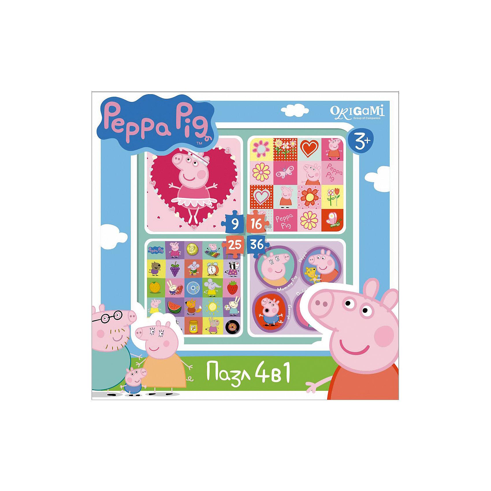 Origami Набор из 4-х пазлов Герои и предметы, 9*16*25*36 деталей, Свинка Пеппа origami пазл замок 160 деталей свинка пеппа