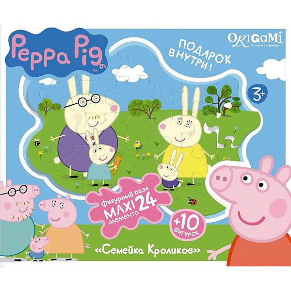 Купить Пазл Семья кроликов + магниты + подставки, 24 MAXI детали, Свинка Пеппа, Origami, Россия, Унисекс