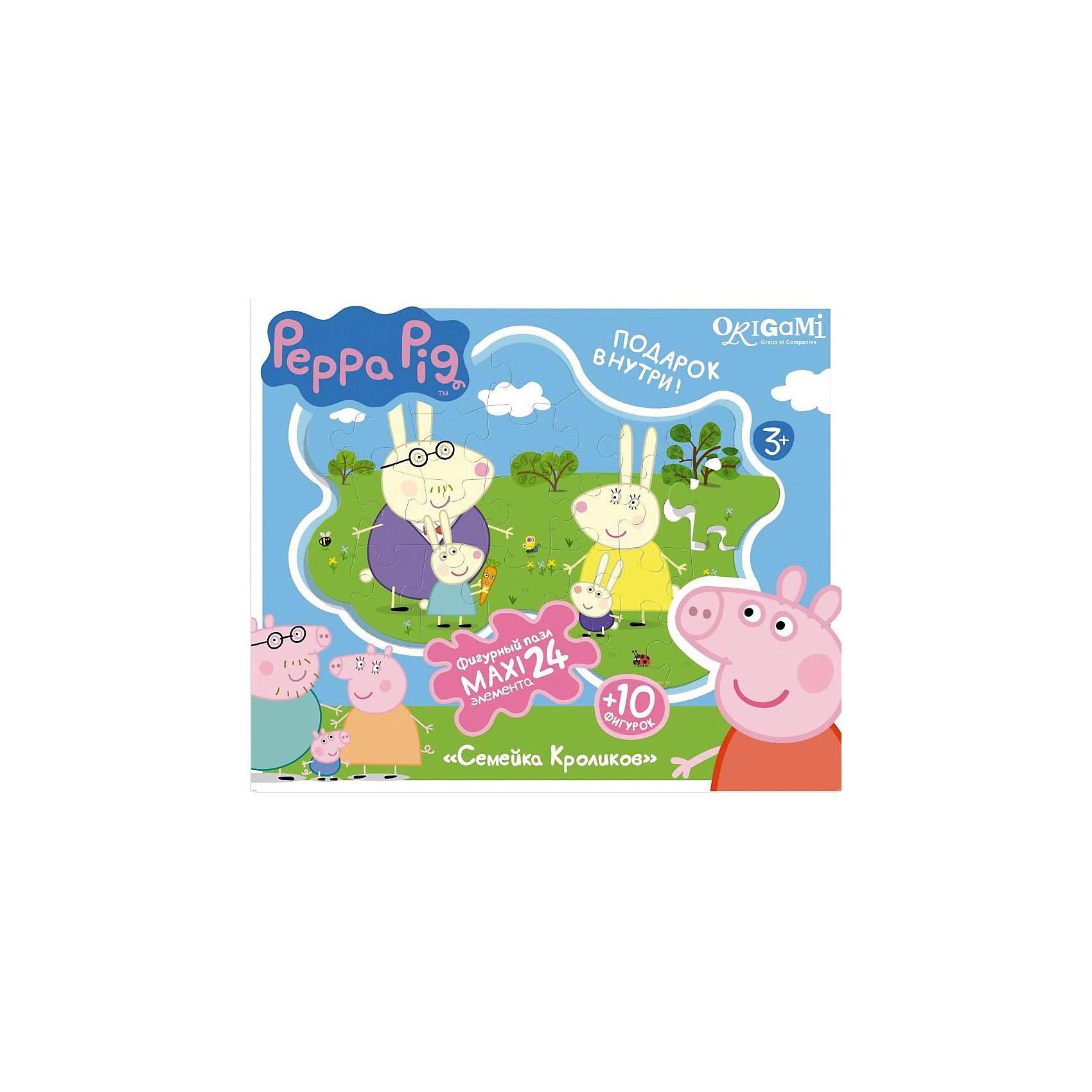 Пазл Семья кроликов + магниты + подставки, 24 MAXI детали, Свинка ПеппаПазлы для малышей<br>Пазл Семья кроликов, Свинка Пеппа - увлекательный и развивающий набор для творчества, который непременно заинтересует Вашего малыша. Из деталей пазла он сможет собрать красочную фигурную картинку с изображением забавной семьи кроликов из популярного мультсериала Peppa Pig. Собранную картинку можно поместить на подставку, превратив ее в декорацию для игры с картонными фигурками персонажей (входят в комплект). А с помощью магнитов изображение или фигурки можно прикрепить к холодильнику. Пазл отличается высоким качеством полиграфии и насыщенными цветами. Благодаря ламинированному покрытию картинка надолго сохраняет свой блеск и яркие цвета. Плотный картон не дает деталям мяться и обеспечивает надежное соединение. Собирание пазла способствует развитию логического и пространственного мышления, внимания, мелкой моторики и координации движений.<br><br>Дополнительная информация:<br><br>- В комплекте: контурный пазл (24 детали), 10 фигурок, магниты, подставка.<br>- Материал: картон, бумага. <br>- Размер упаковки: 28 x 6 x 23 см.<br>- Вес: 0,424 кг.<br> <br>Пазл Семья кроликов + магниты + подставки, 24 MAXI детали, Свинка Пеппа, Origami, можно купить в нашем интернет-магазине.<br><br>Ширина мм: 280<br>Глубина мм: 60<br>Высота мм: 230<br>Вес г: 100<br>Возраст от месяцев: 36<br>Возраст до месяцев: 96<br>Пол: Унисекс<br>Возраст: Детский<br>SKU: 4614942