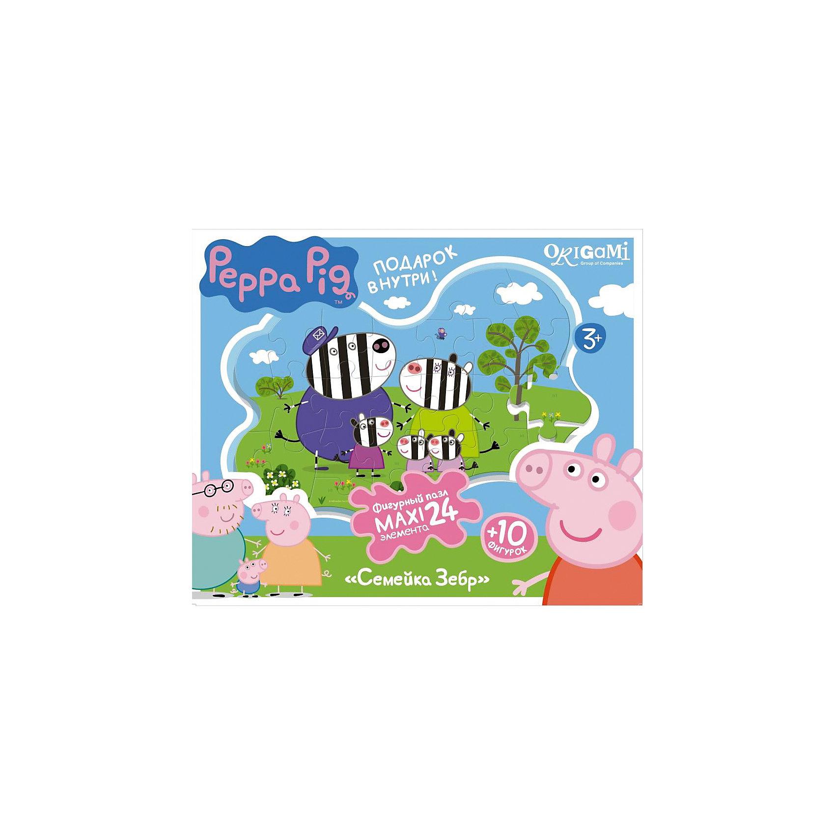 Пазл Семья зебр + магниты + подставки, 24 MAXI детали, Свинка ПеппаПазлы для малышей<br>Пазл Семья зебр, Свинка Пеппа - увлекательный и развивающий набор для творчества, который непременно заинтересует Вашего малыша. Из деталей пазла он сможет собрать красочную фигурную картинку с изображением забавной семьи зебры Хлои из популярного мультсериала Peppa Pig. Собранную картинку можно поместить на подставку, превратив ее в декорацию для игры с картонными фигурками персонажей (входят в комплект). А с помощью магнитов изображение или фигурки можно прикрепить к холодильнику. Пазл отличается высоким качеством полиграфии и насыщенными цветами. Благодаря ламинированному покрытию картинка надолго сохраняет свой блеск и яркие цвета. Плотный картон не дает деталям мяться и обеспечивает надежное соединение. Собирание пазла способствует развитию логического и пространственного мышления, внимания, мелкой моторики и координации движений.<br><br>Дополнительная информация:<br><br>- В комплекте: контурный пазл (24 детали), 10 фигурок, магниты, подставка.<br>- Материал: картон, бумага. <br>- Размер упаковки: 28 x 6 x 23 см.<br>- Вес: 0,424 кг.<br> <br>Пазл Семья зебр + магниты + подставки, 24 MAXI детали, Свинка Пеппа, Origami, можно купить в нашем интернет-магазине.<br><br>Ширина мм: 280<br>Глубина мм: 60<br>Высота мм: 230<br>Вес г: 100<br>Возраст от месяцев: 36<br>Возраст до месяцев: 96<br>Пол: Унисекс<br>Возраст: Детский<br>SKU: 4614943