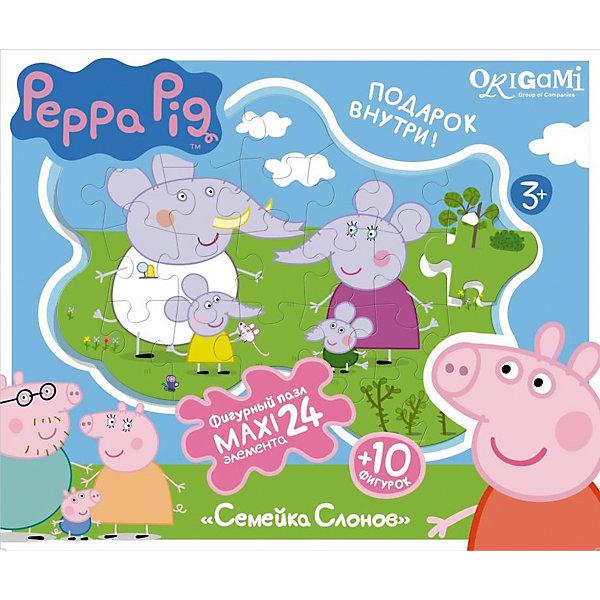 Пазл Семья слонов + магниты + подставки, 24 MAXI детали, Свинка ПеппаПазлы для малышей<br>Пазл Семья слонов, Свинка Пеппа - увлекательный и развивающий набор для творчества, который непременно заинтересует Вашего малыша. Из деталей пазла он сможет собрать красочную фигурную картинку с изображением забавной семьи слонов из популярного мультсериала Peppa Pig. Собранную картинку можно поместить на подставку, превратив ее в декорацию для игры с картонными фигурками персонажей (входят в комплект). А с помощью магнитов изображение или фигурки можно прикрепить к холодильнику. Пазл отличается высоким качеством полиграфии и насыщенными цветами. Благодаря ламинированному покрытию картинка надолго сохраняет свой блеск и яркие цвета. Плотный картон не дает деталям мяться и обеспечивает надежное соединение. Собирание пазла способствует развитию логического и пространственного мышления, внимания, мелкой моторики и координации движений.<br><br>Дополнительная информация:<br><br>- В комплекте: контурный пазл (24 детали), 10 фигурок, магниты, подставка.<br>- Материал: картон, бумага. <br>- Размер упаковки: 28 x 6 x 23 см.<br>- Вес: 0,424 кг.<br> <br>Пазл Семья слонов + магниты + подставки, 24 MAXI детали, Свинка Пеппа, Origami, можно купить в нашем интернет-магазине.<br>Ширина мм: 280; Глубина мм: 60; Высота мм: 230; Вес г: 100; Возраст от месяцев: 36; Возраст до месяцев: 96; Пол: Унисекс; Возраст: Детский; SKU: 4614944;