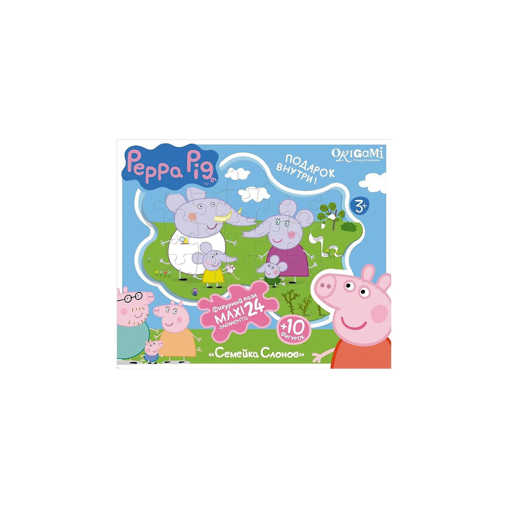 Пазл Семья слонов + магниты + подставки, 24 MAXI детали, Свинка ПеппаПазлы для малышей<br>Пазл Семья слонов, Свинка Пеппа - увлекательный и развивающий набор для творчества, который непременно заинтересует Вашего малыша. Из деталей пазла он сможет собрать красочную фигурную картинку с изображением забавной семьи слонов из популярного мультсериала Peppa Pig. Собранную картинку можно поместить на подставку, превратив ее в декорацию для игры с картонными фигурками персонажей (входят в комплект). А с помощью магнитов изображение или фигурки можно прикрепить к холодильнику. Пазл отличается высоким качеством полиграфии и насыщенными цветами. Благодаря ламинированному покрытию картинка надолго сохраняет свой блеск и яркие цвета. Плотный картон не дает деталям мяться и обеспечивает надежное соединение. Собирание пазла способствует развитию логического и пространственного мышления, внимания, мелкой моторики и координации движений.<br><br>Дополнительная информация:<br><br>- В комплекте: контурный пазл (24 детали), 10 фигурок, магниты, подставка.<br>- Материал: картон, бумага. <br>- Размер упаковки: 28 x 6 x 23 см.<br>- Вес: 0,424 кг.<br> <br>Пазл Семья слонов + магниты + подставки, 24 MAXI детали, Свинка Пеппа, Origami, можно купить в нашем интернет-магазине.<br><br>Ширина мм: 280<br>Глубина мм: 60<br>Высота мм: 230<br>Вес г: 100<br>Возраст от месяцев: 36<br>Возраст до месяцев: 96<br>Пол: Унисекс<br>Возраст: Детский<br>SKU: 4614944