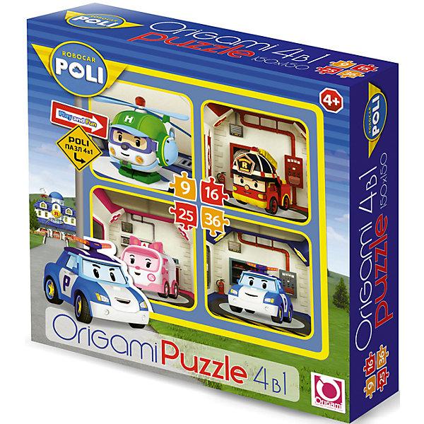 Набор из 4-х пазлов Робокар Поли, 9*16*25*36 деталей, OrigamiПазлы для малышей<br>Набор из 4-х пазлов Робокар Поли, Origami - увлекательный набор для творчества, который заинтересует Вашего малыша и подарит ему отличное настроение. Из деталей пазла он сможет собрать четыре красочные картинки с изображениями главных героев популярного мультсериала Robocar Poli. Картинки отличаются количеством входящих в них деталей и уровнем сложности. Начинайте сборку с пазла на 9 элементов, постепенно усложняя задачу до 25 элементов. Набор обладает высоким качеством полиграфии и насыщенными цветами. Благодаря ламинированному покрытию картинки надолго сохраняют свой блеск и яркие цвета. Плотный картон не дает деталям мяться и обеспечивает надежное соединение. Собирание пазла способствует развитию логического и пространственного мышления, внимания, мелкой моторики и координации движений.<br><br>Дополнительная информация:<br><br>- Материал: бумага, картон. <br>- Количество деталей: 9, 16, 25, 36.<br>- Размер собранной картинки: 15 х 15 см.<br>- Размер упаковки: 18 x 18 x 5 см.<br>- Вес: 160 гр.<br> <br>Набор из 4-х пазлов Робокар Поли, 9*16*25*36 деталей, Origami, можно купить в нашем интернет-магазине.<br><br>Ширина мм: 180<br>Глубина мм: 50<br>Высота мм: 180<br>Вес г: 100<br>Возраст от месяцев: 36<br>Возраст до месяцев: 96<br>Пол: Унисекс<br>Возраст: Детский<br>SKU: 4614946