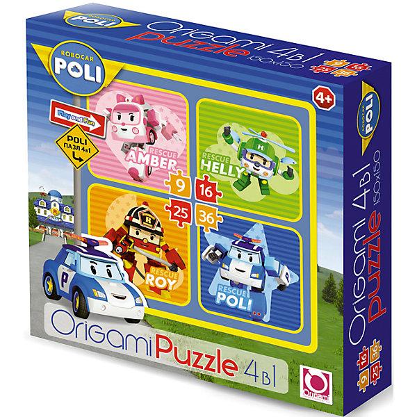 Набор из 4-х пазлов Робокар Поли, 9*16*25*36 деталей, OrigamiПазлы для малышей<br>Набор из 4-х пазлов Робокар Поли, Origami - увлекательный набор для творчества, который заинтересует Вашего малыша и подарит ему отличное настроение. Из деталей пазла он сможет собрать четыре красочные картинки с изображениями главных героев популярного мультсериала Robocar Poli (скорая помощь Амбер, вертолетик Хелли, пожарная машина Рой и сам Поли). Картинки отличаются количеством входящих в них деталей и уровнем сложности. Начинайте сборку с пазла на 9 элементов, постепенно усложняя задачу до 25 элементов. Набор обладает высоким качеством полиграфии и насыщенными цветами. Благодаря ламинированному покрытию картинки надолго сохраняют свой блеск и яркие цвета. Плотный картон не дает деталям мяться и обеспечивает надежное соединение. Собирание пазла способствует развитию логического и пространственного мышления, внимания, мелкой моторики и координации движений.<br><br>Дополнительная информация:<br><br>- Материал: бумага, картон. <br>- Количество деталей: 9, 16, 25, 36.<br>- Размер собранной картинки: 15 х 15 см.<br>- Размер упаковки: 18 x 18 x 5 см.<br>- Вес: 160 гр.<br> <br>Набор из 4-х пазлов Робокар Поли, 9*16*25*36 деталей, Origami, можно купить в нашем интернет-магазине.<br><br>Ширина мм: 180<br>Глубина мм: 50<br>Высота мм: 180<br>Вес г: 100<br>Возраст от месяцев: 36<br>Возраст до месяцев: 96<br>Пол: Унисекс<br>Возраст: Детский<br>SKU: 4614947